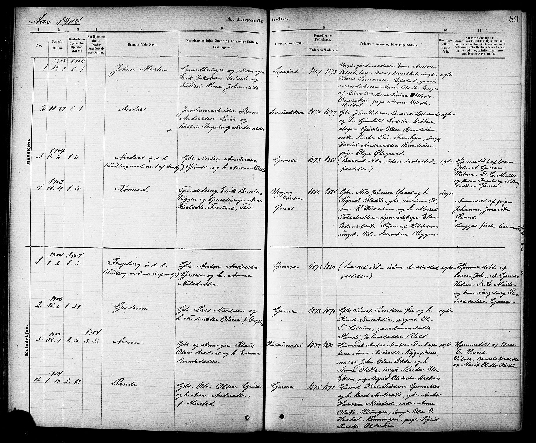 SAT, Ministerialprotokoller, klokkerbøker og fødselsregistre - Sør-Trøndelag, 691/L1094: Klokkerbok nr. 691C05, 1879-1911, s. 89
