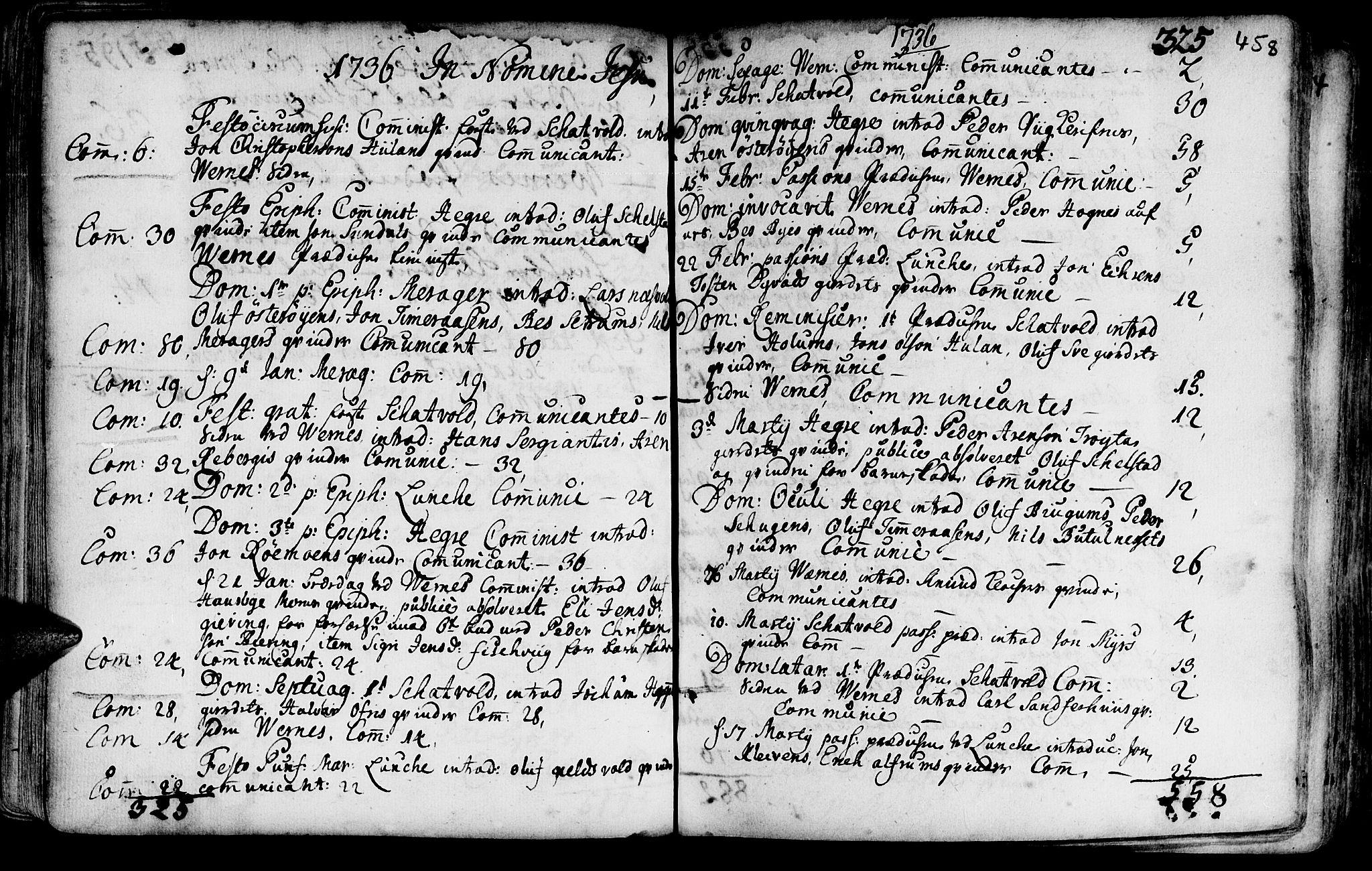 SAT, Ministerialprotokoller, klokkerbøker og fødselsregistre - Nord-Trøndelag, 709/L0054: Ministerialbok nr. 709A02, 1714-1738, s. 457-458