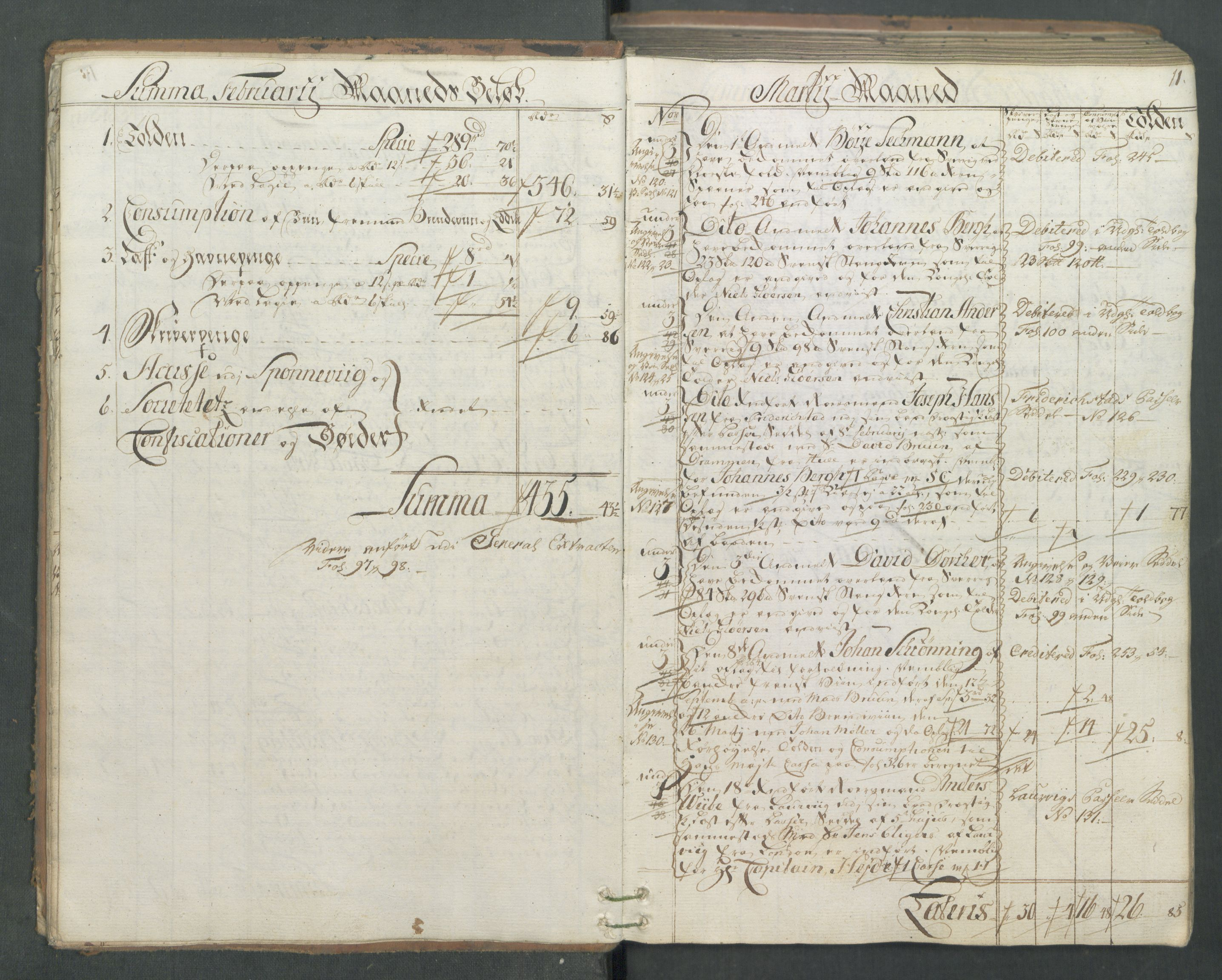 RA, Generaltollkammeret, tollregnskaper, R01/L0046: Tollregnskaper Fredrikshald, 1762, s. 10b-11a