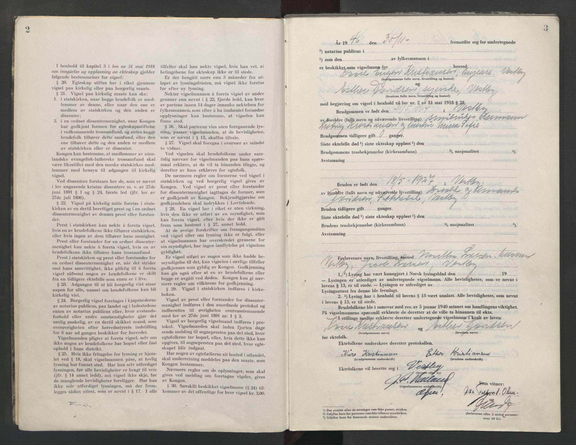 SAO, Follo sorenskriveri, L/La/Lab/L0003: Vigselsbok, 1946-1955, s. 2-3