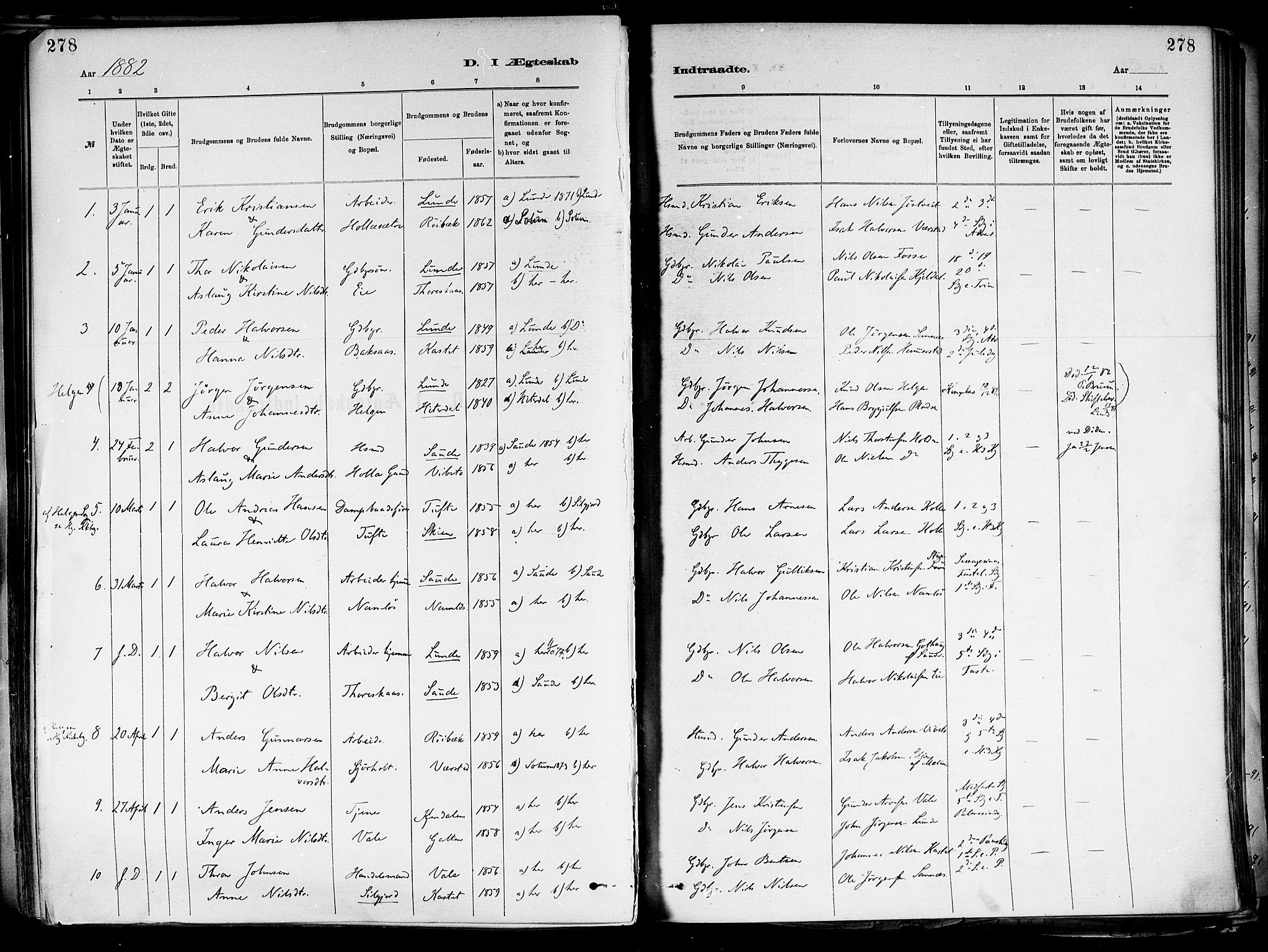 SAKO, Holla kirkebøker, F/Fa/L0008: Ministerialbok nr. 8, 1882-1897, s. 278