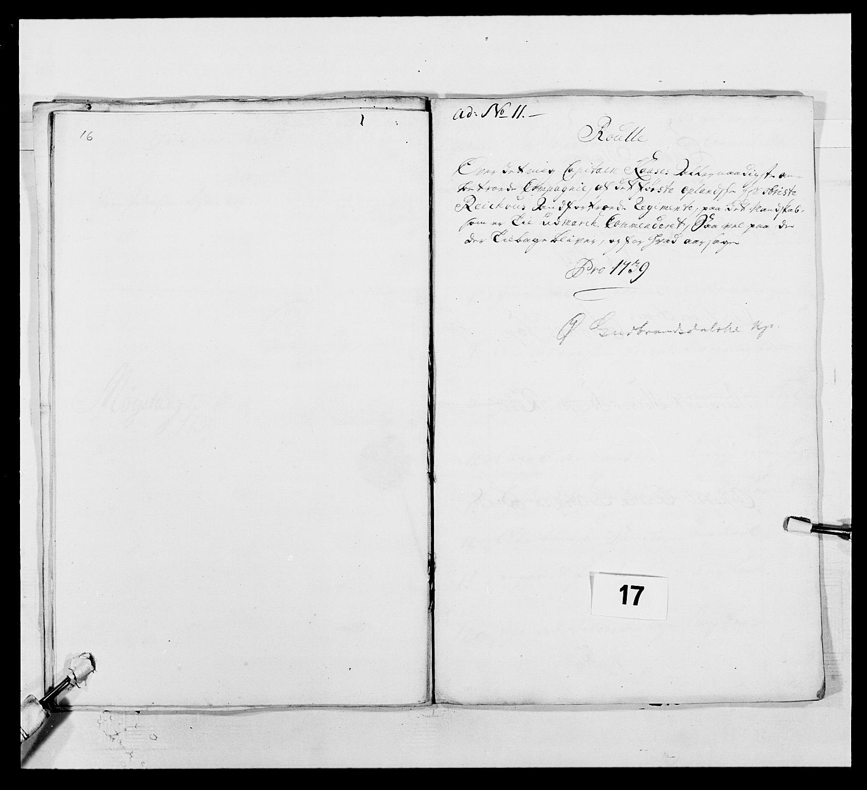 RA, Kommanderende general (KG I) med Det norske krigsdirektorium, E/Ea/L0502: 1. Opplandske regiment, 1720-1743, s. 167