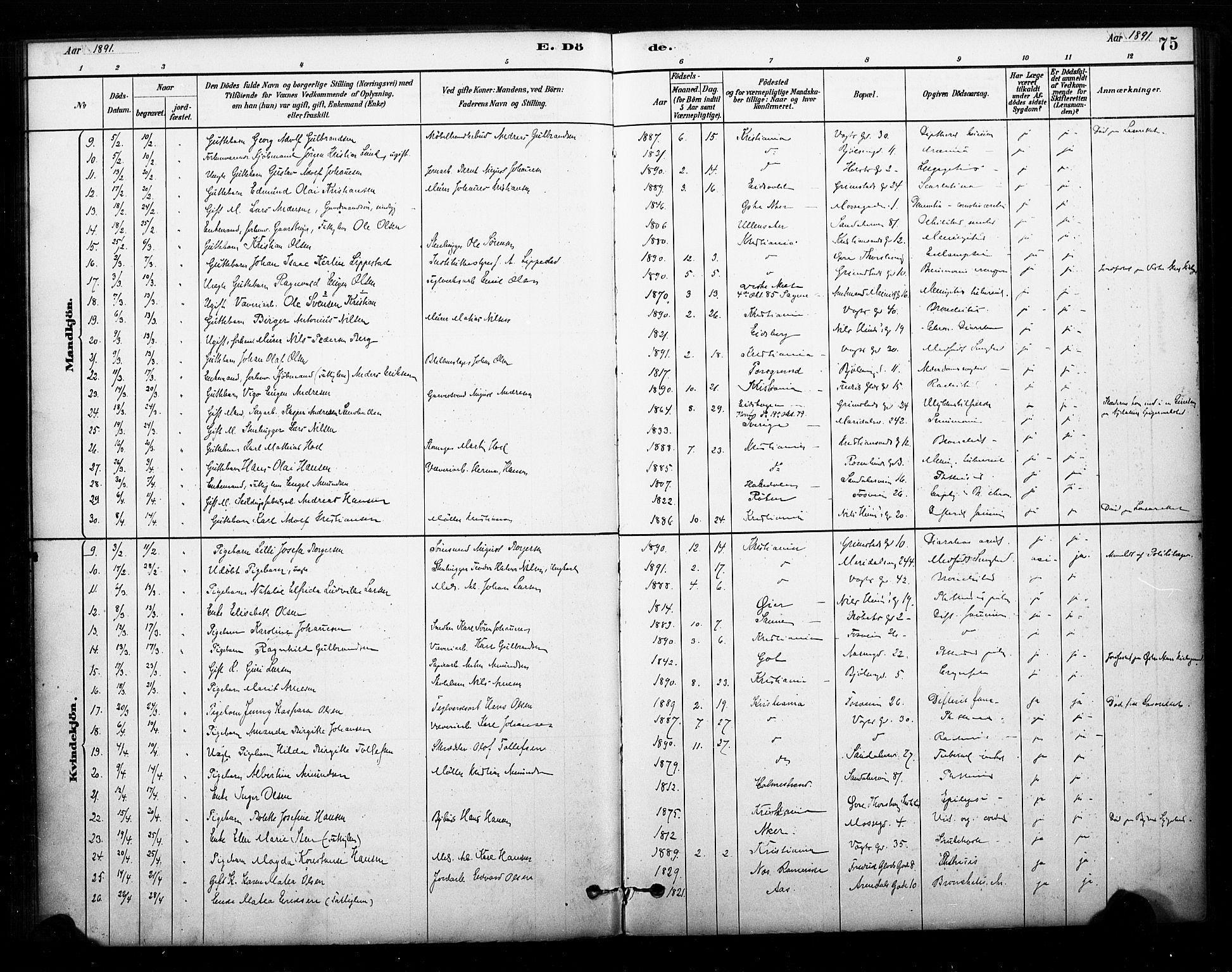 SAO, Sagene prestekontor Kirkebøker, F/L0003: Ministerialbok nr. 3, 1880-1922, s. 75