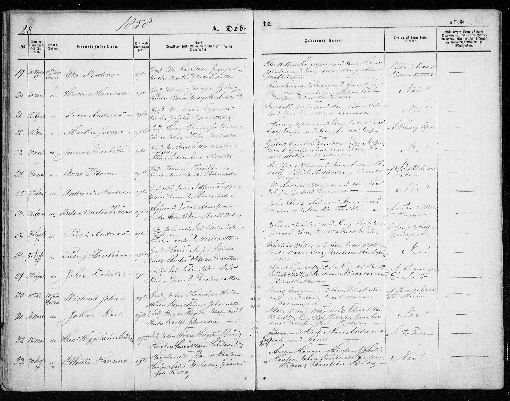 SATØ, Lenvik sokneprestembete, H/Ha: Ministerialbok nr. 7, 1855-1865, s. 28