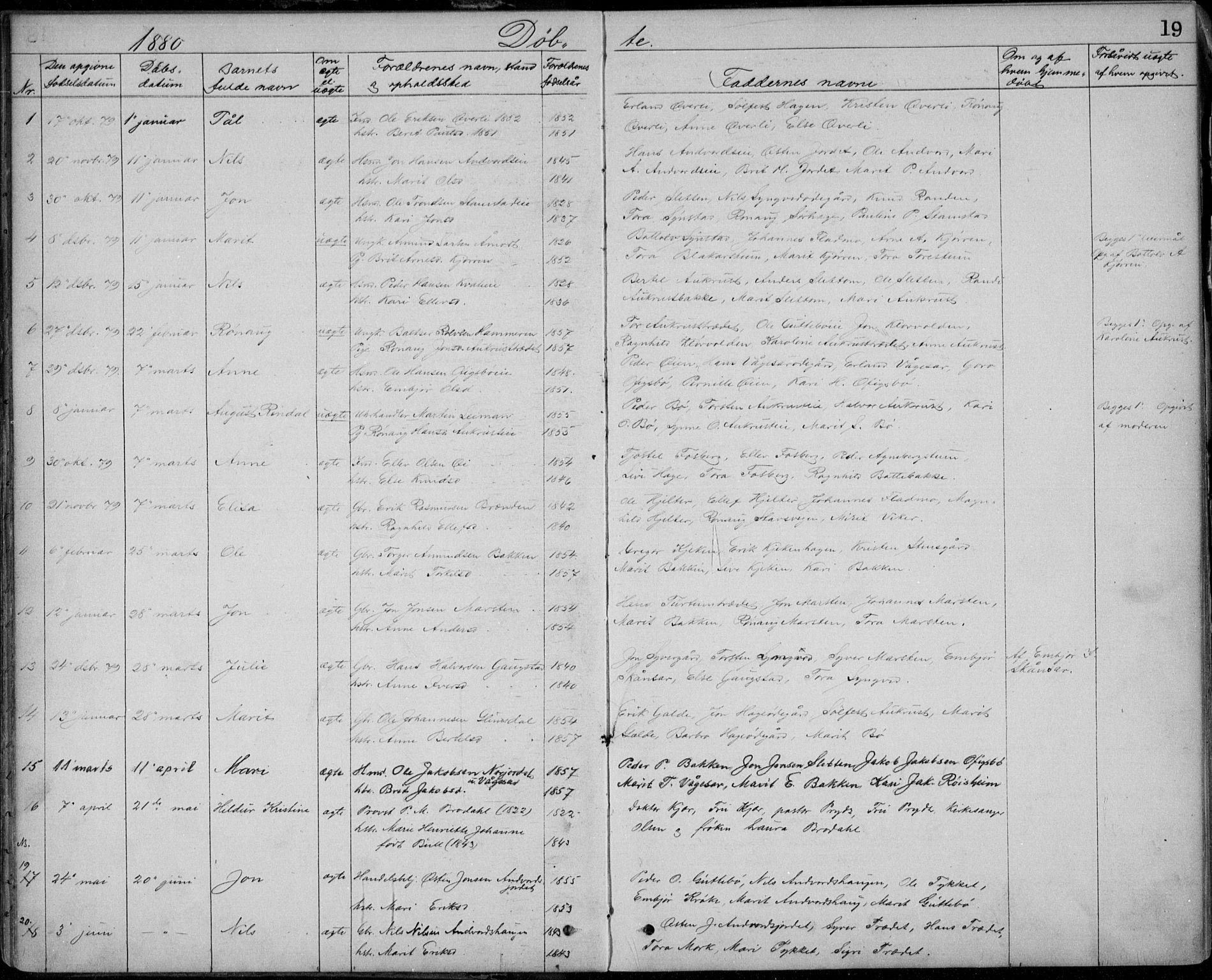 SAH, Lom prestekontor, L/L0013: Klokkerbok nr. 13, 1874-1938, s. 19