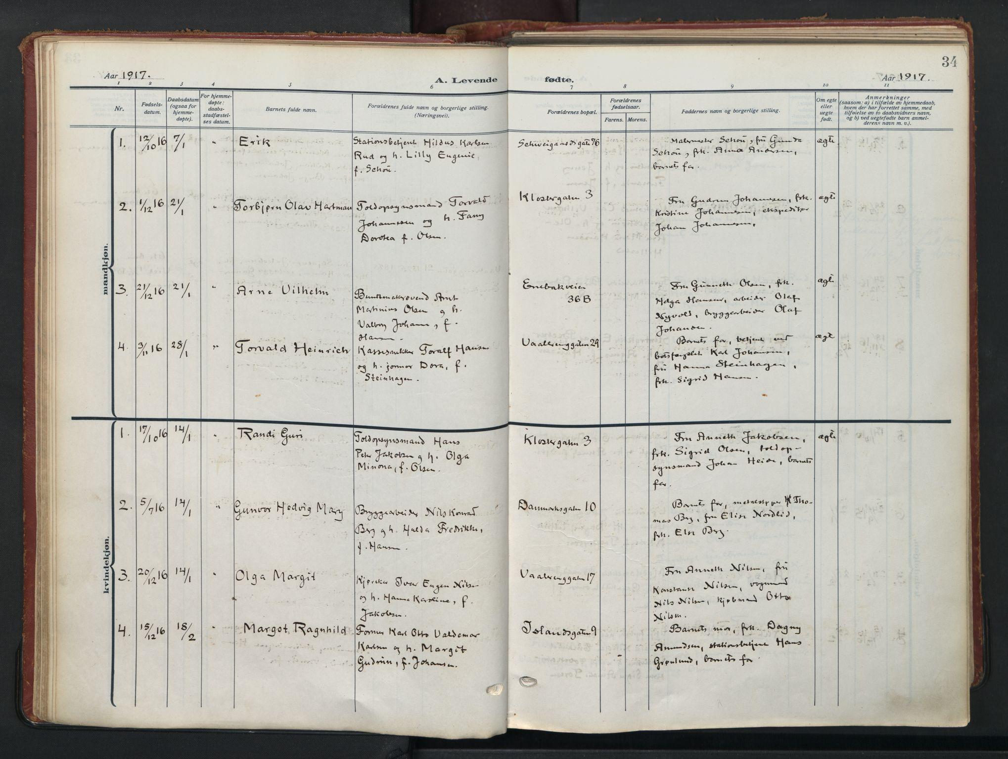 SAO, Vålerengen prestekontor Kirkebøker, F/Fa/L0004: Ministerialbok nr. 4, 1915-1929, s. 34
