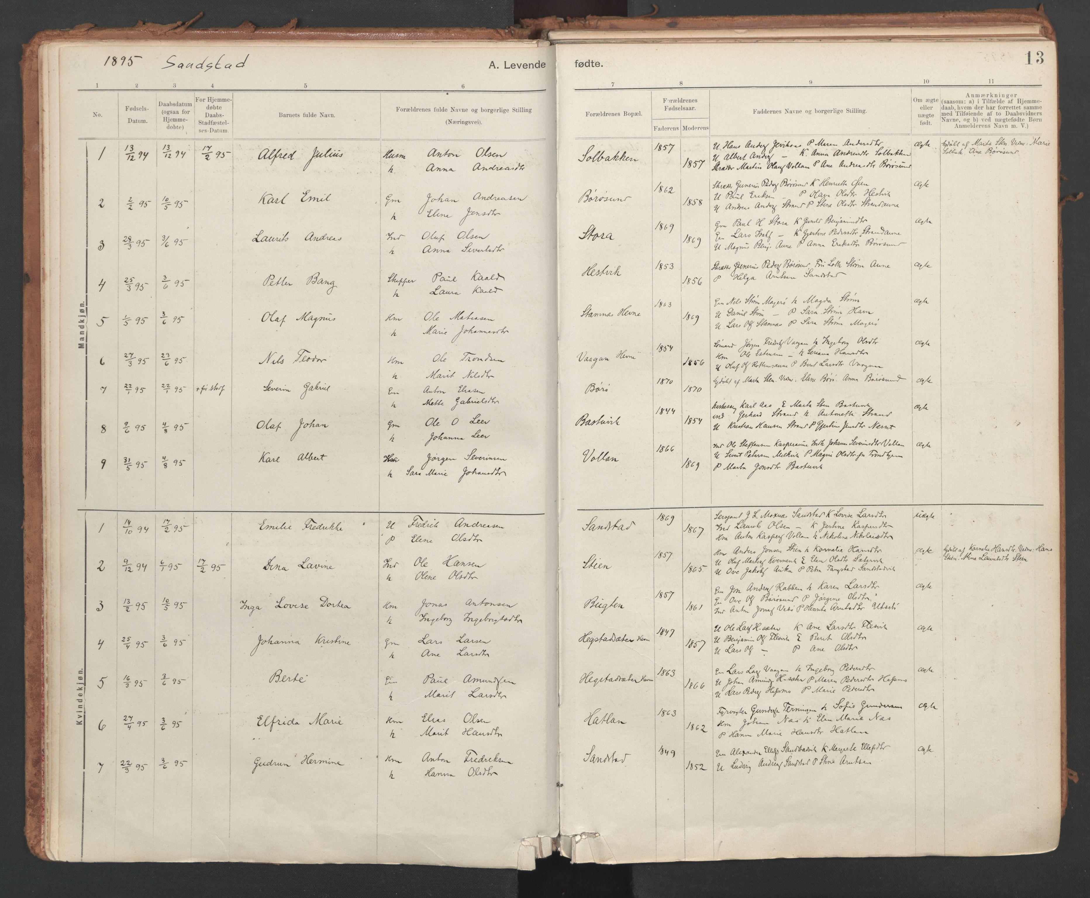 SAT, Ministerialprotokoller, klokkerbøker og fødselsregistre - Sør-Trøndelag, 639/L0572: Ministerialbok nr. 639A01, 1890-1920, s. 13