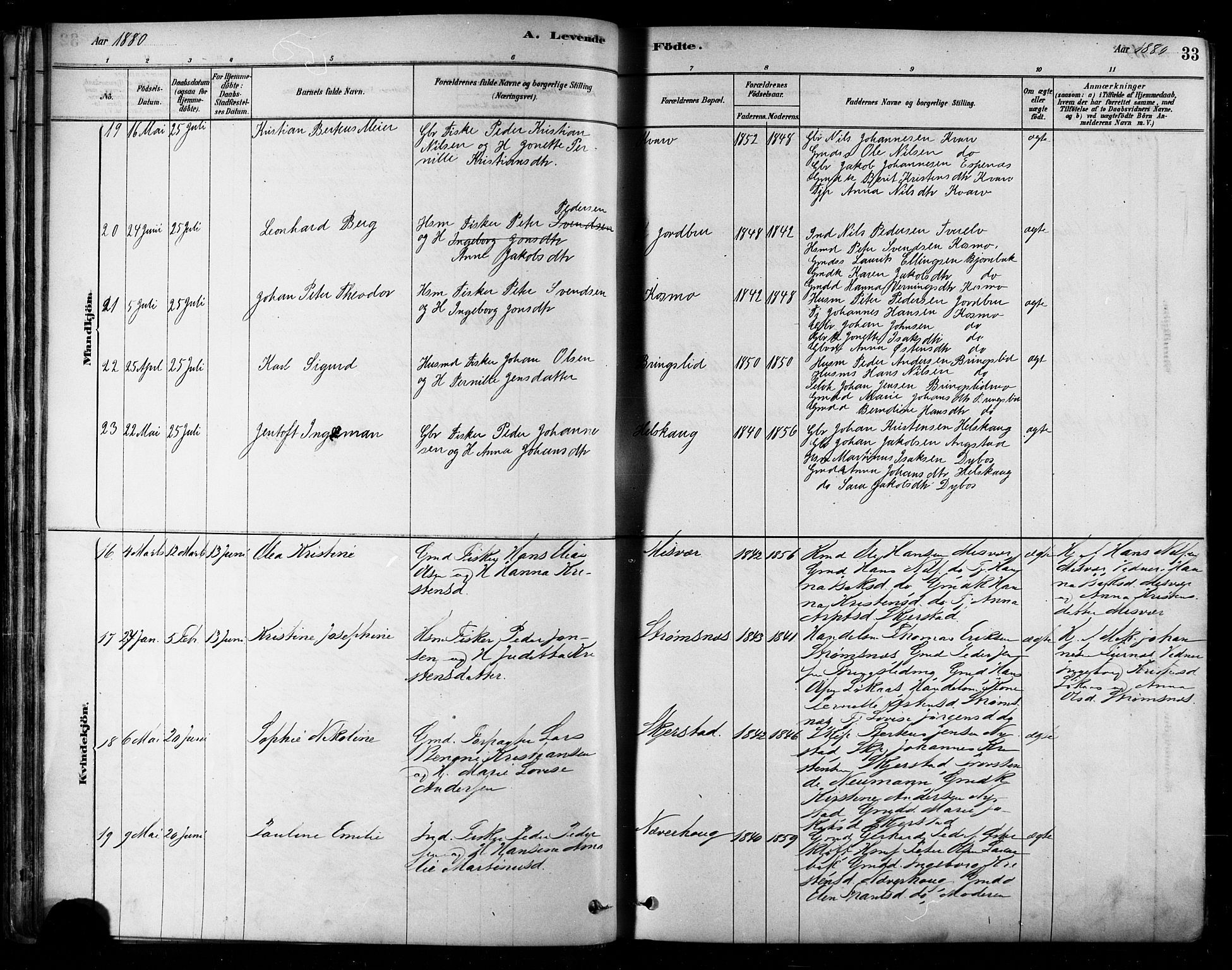 SAT, Ministerialprotokoller, klokkerbøker og fødselsregistre - Nordland, 852/L0740: Ministerialbok nr. 852A10, 1878-1894, s. 33