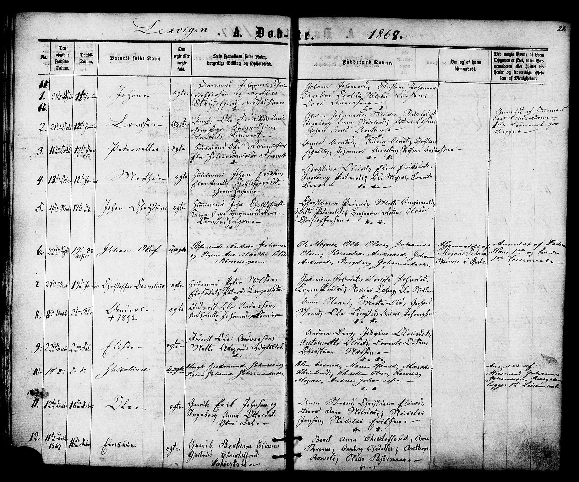 SAT, Ministerialprotokoller, klokkerbøker og fødselsregistre - Nord-Trøndelag, 701/L0009: Ministerialbok nr. 701A09 /1, 1864-1882, s. 22