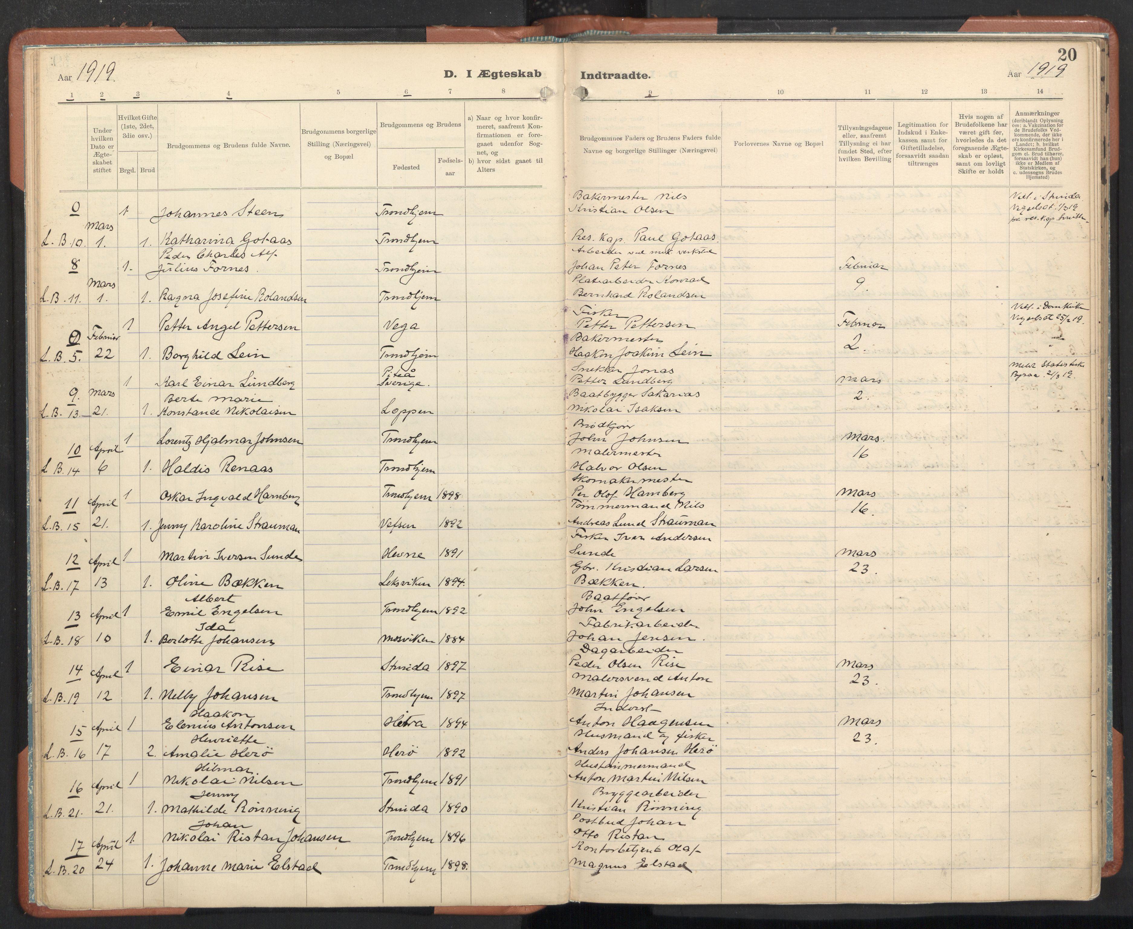 SAT, Ministerialprotokoller, klokkerbøker og fødselsregistre - Sør-Trøndelag, 605/L0245: Ministerialbok nr. 605A07, 1916-1938, s. 20