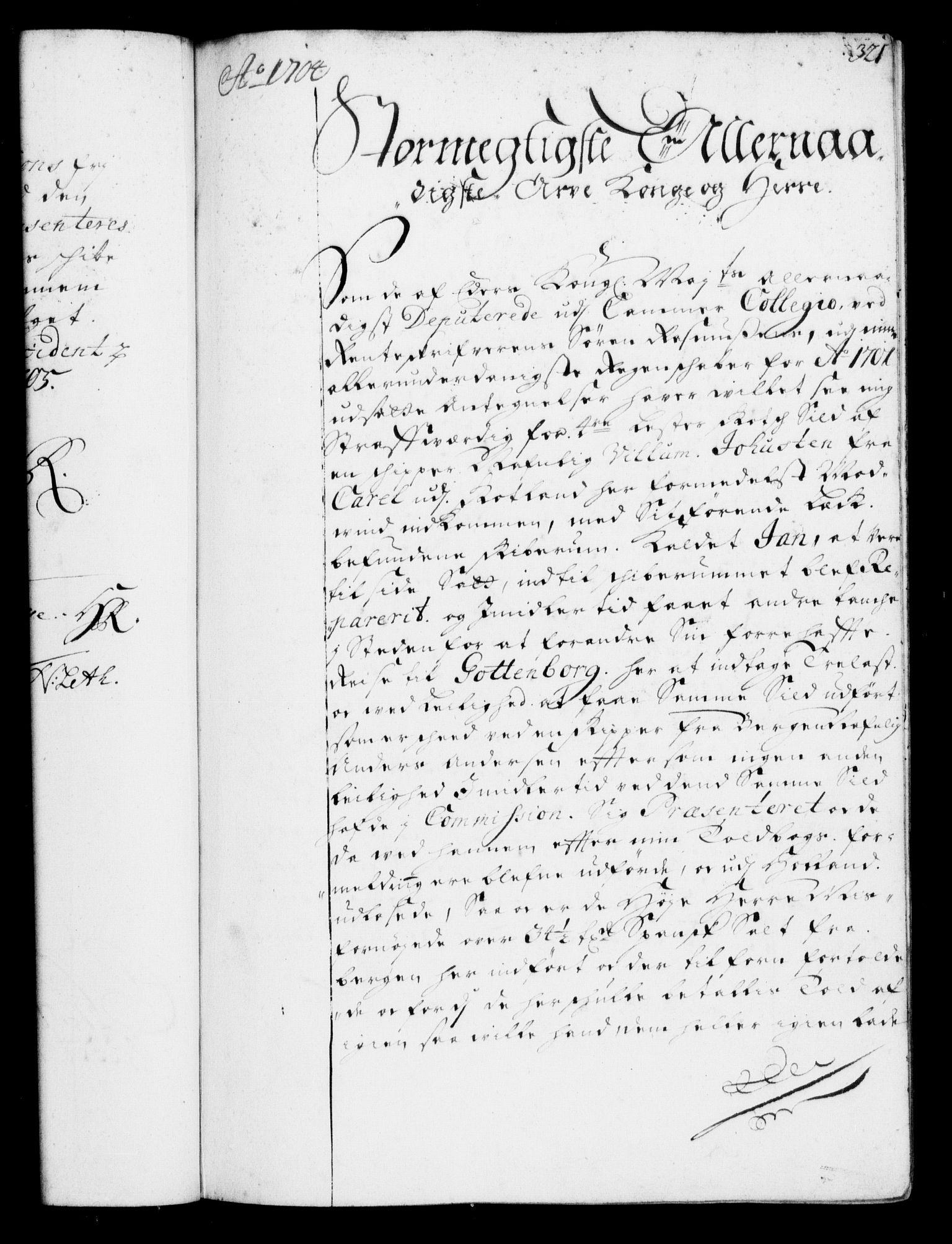 RA, Rentekammeret, Kammerkanselliet, G/Gf/Gfa/L0001: Resolusjonsprotokoll med register (merket RK 52.1), 1695-1706, s. 321