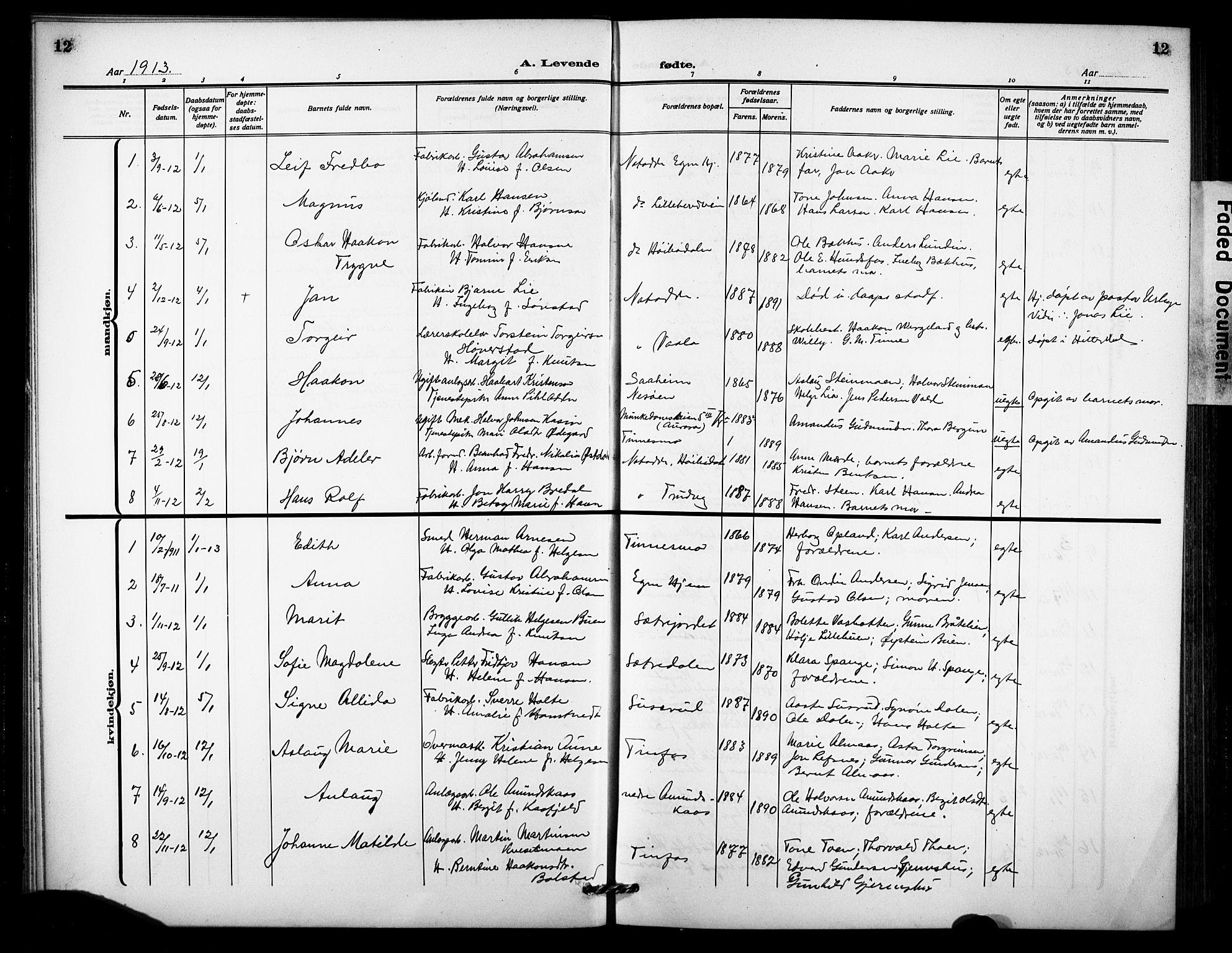 SAKO, Notodden kirkebøker, G/Ga/L0001: Klokkerbok nr. 1, 1912-1923, s. 12