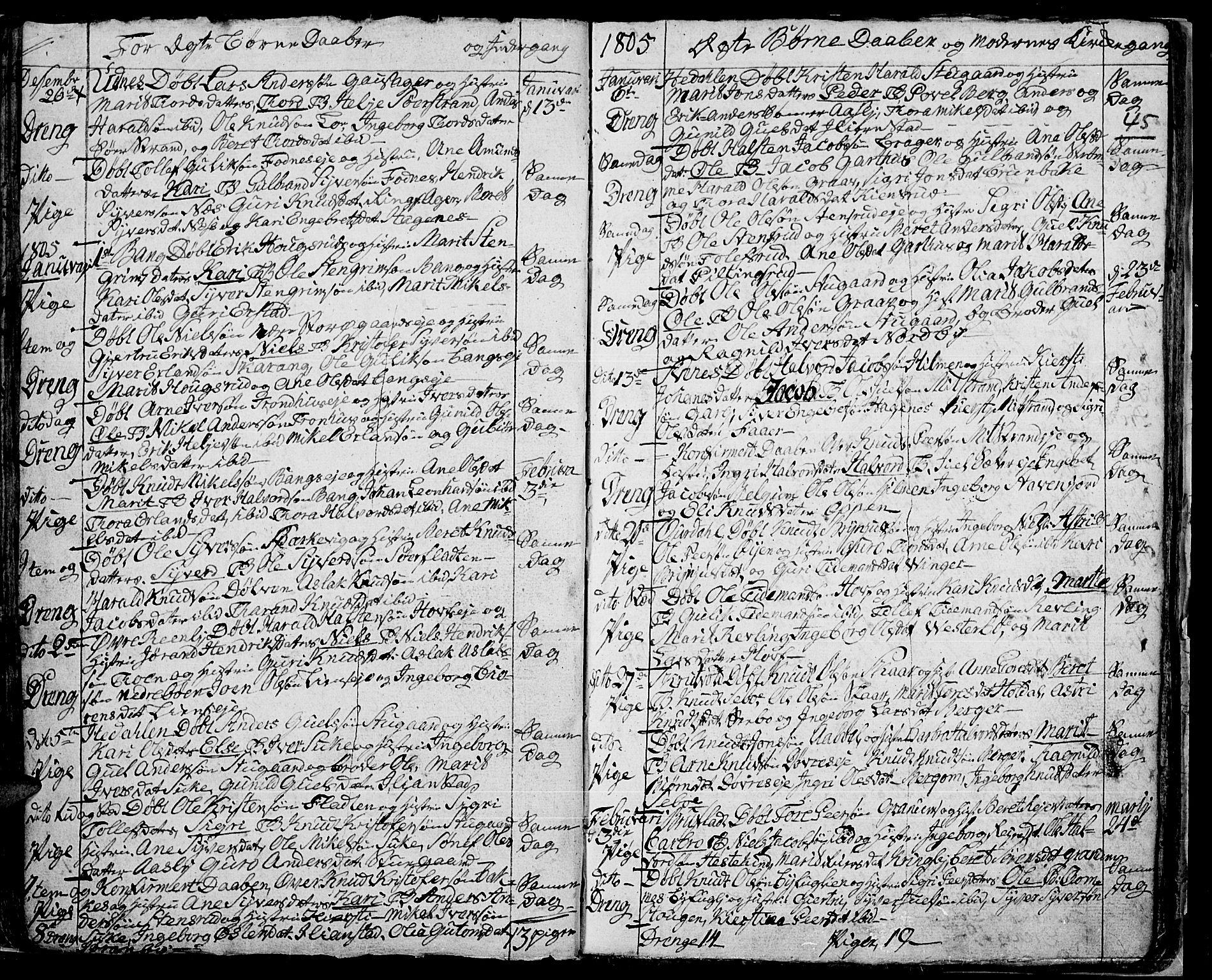 SAH, Aurdal prestekontor, Ministerialbok nr. 7, 1800-1808, s. 45
