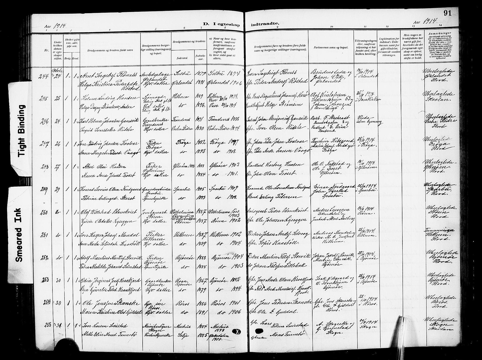 SAT, Ministerialprotokoller, klokkerbøker og fødselsregistre - Sør-Trøndelag, 601/L0097: Klokkerbok nr. 601C15, 1911-1921, s. 91