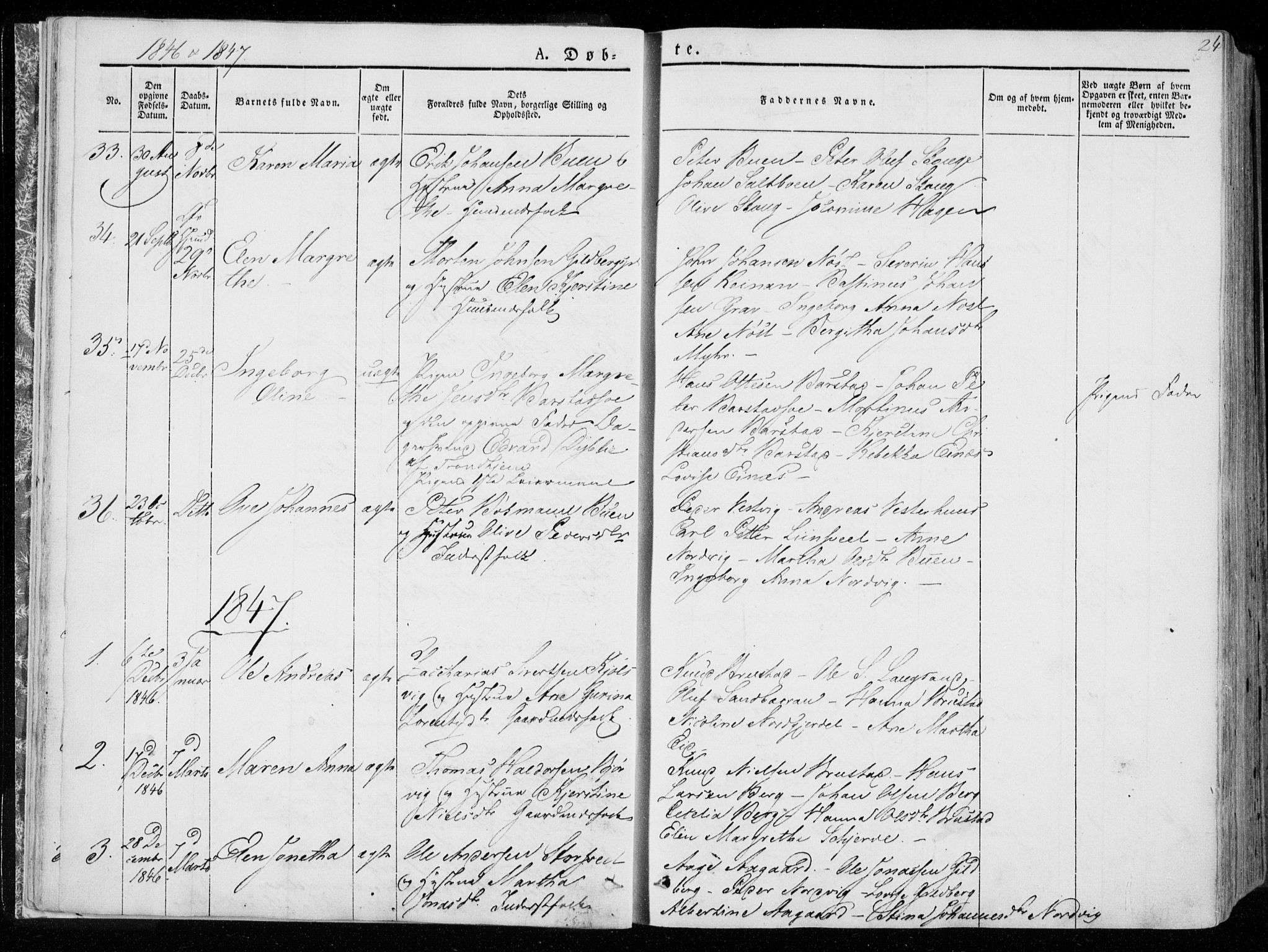 SAT, Ministerialprotokoller, klokkerbøker og fødselsregistre - Nord-Trøndelag, 722/L0218: Ministerialbok nr. 722A05, 1843-1868, s. 24