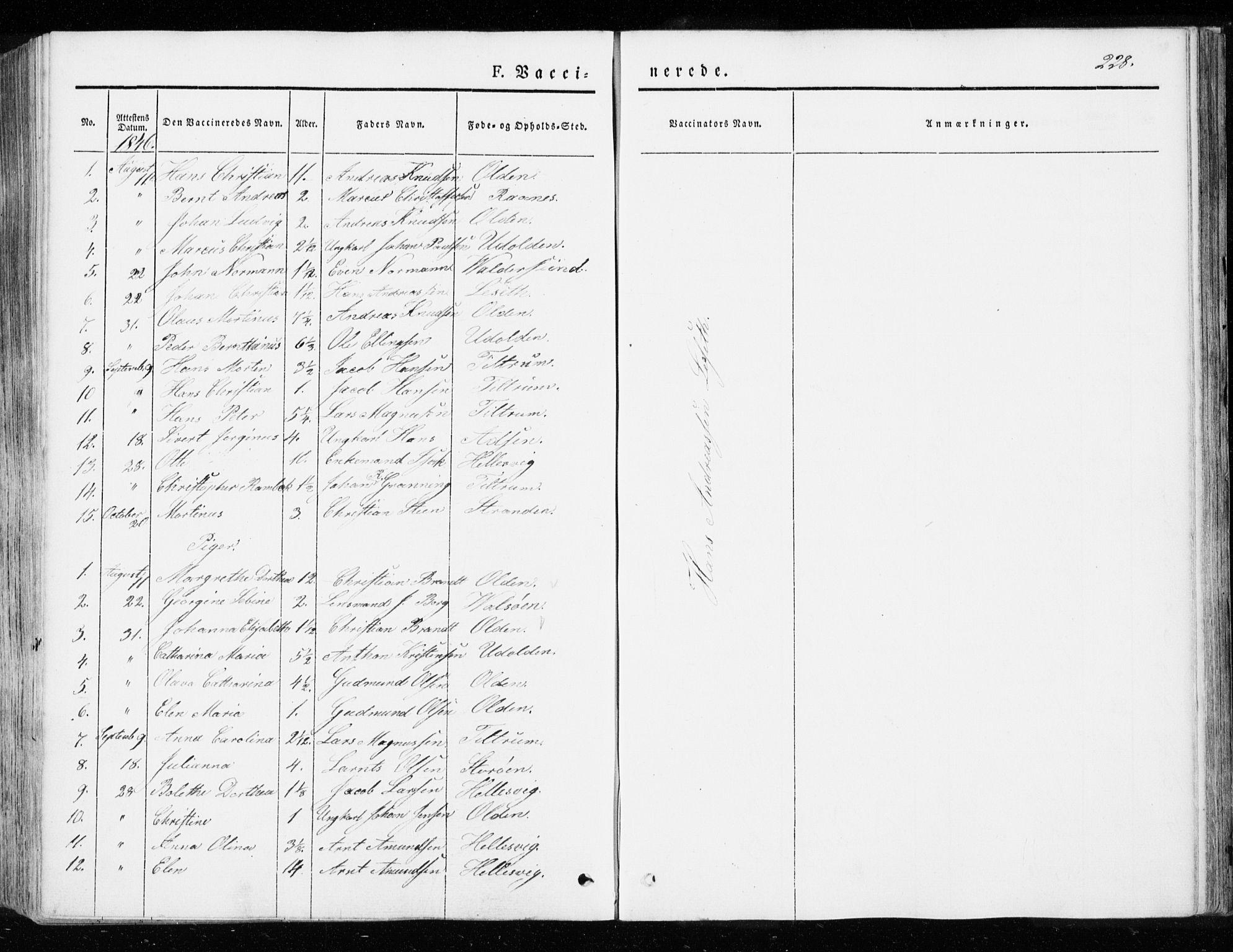 SAT, Ministerialprotokoller, klokkerbøker og fødselsregistre - Sør-Trøndelag, 655/L0677: Ministerialbok nr. 655A06, 1847-1860, s. 228