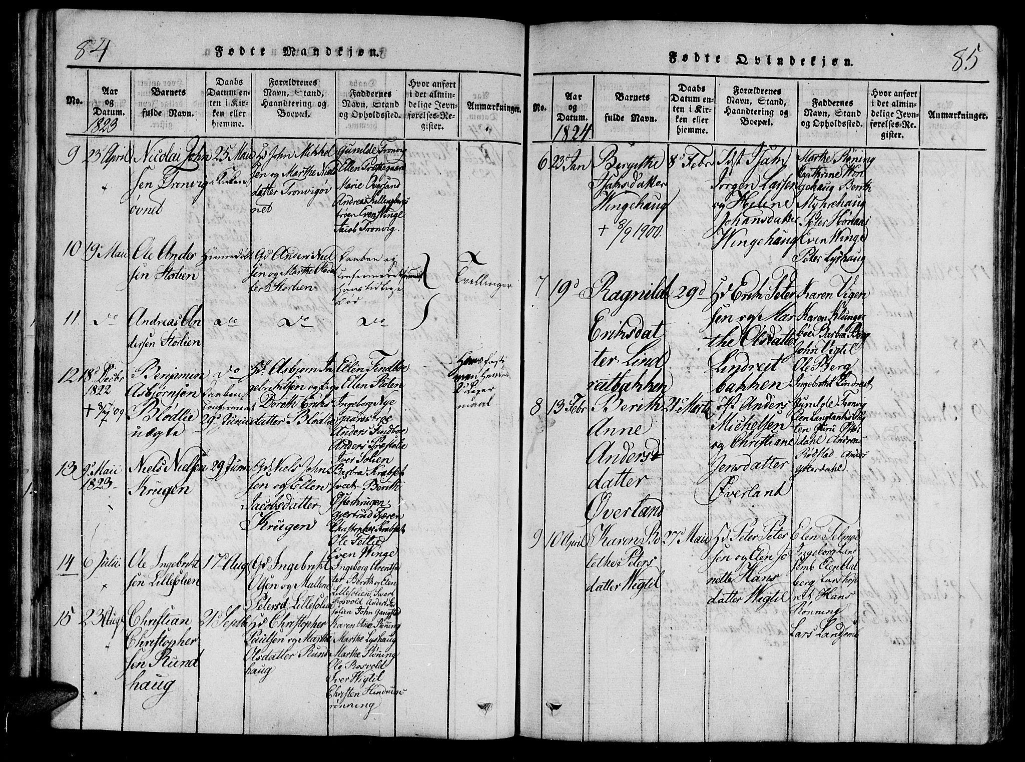 SAT, Ministerialprotokoller, klokkerbøker og fødselsregistre - Nord-Trøndelag, 701/L0005: Ministerialbok nr. 701A05 /1, 1816-1825, s. 84-85