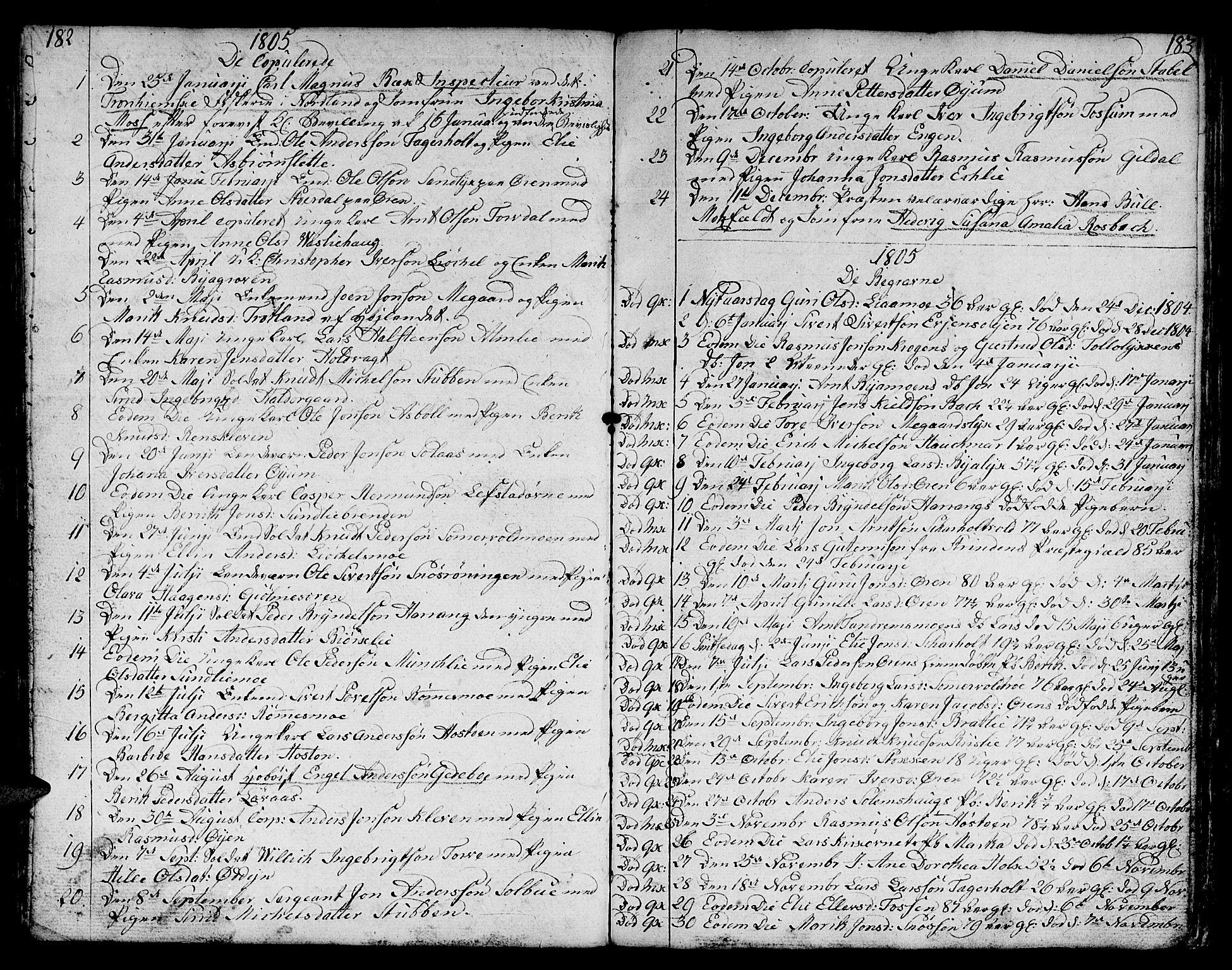 SAT, Ministerialprotokoller, klokkerbøker og fødselsregistre - Sør-Trøndelag, 668/L0815: Klokkerbok nr. 668C04, 1791-1815, s. 182-183