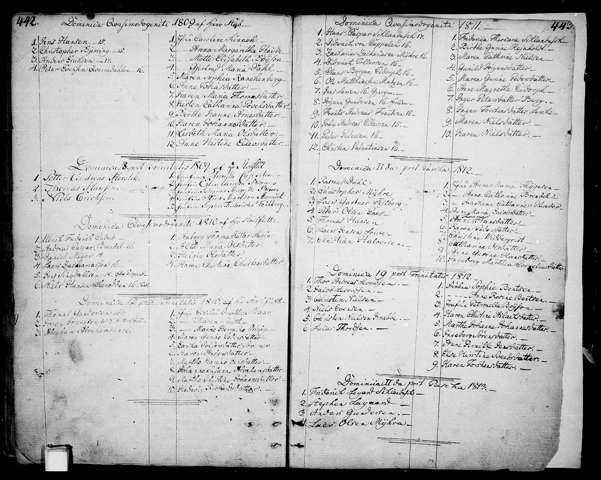 SAKO, Skien kirkebøker, F/Fa/L0004: Ministerialbok nr. 4, 1792-1814, s. 442-443