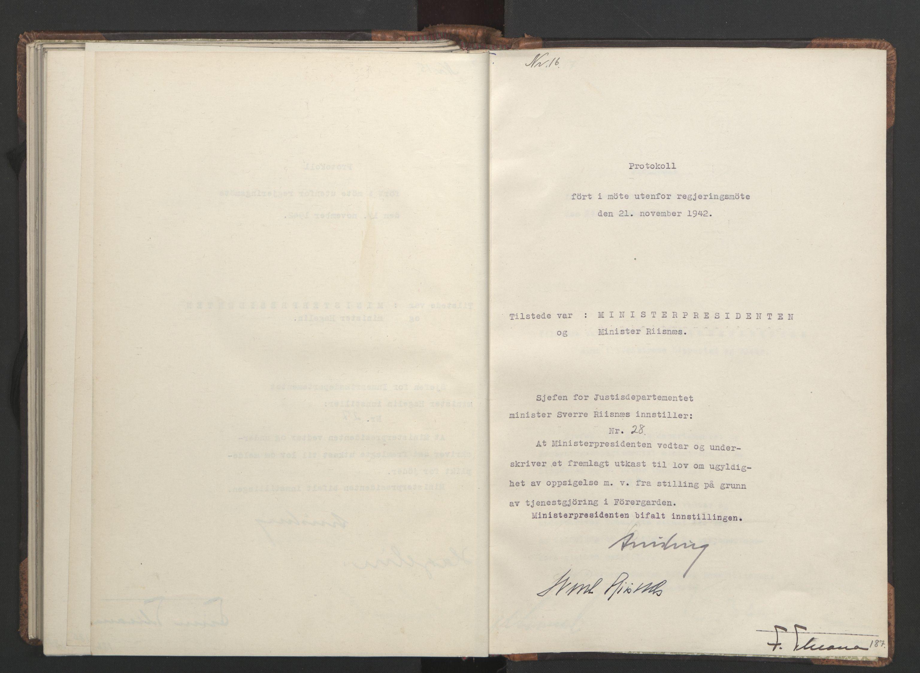 RA, NS-administrasjonen 1940-1945 (Statsrådsekretariatet, de kommisariske statsråder mm), D/Da/L0001: Beslutninger og tillegg (1-952 og 1-32), 1942, s. 186b-187a