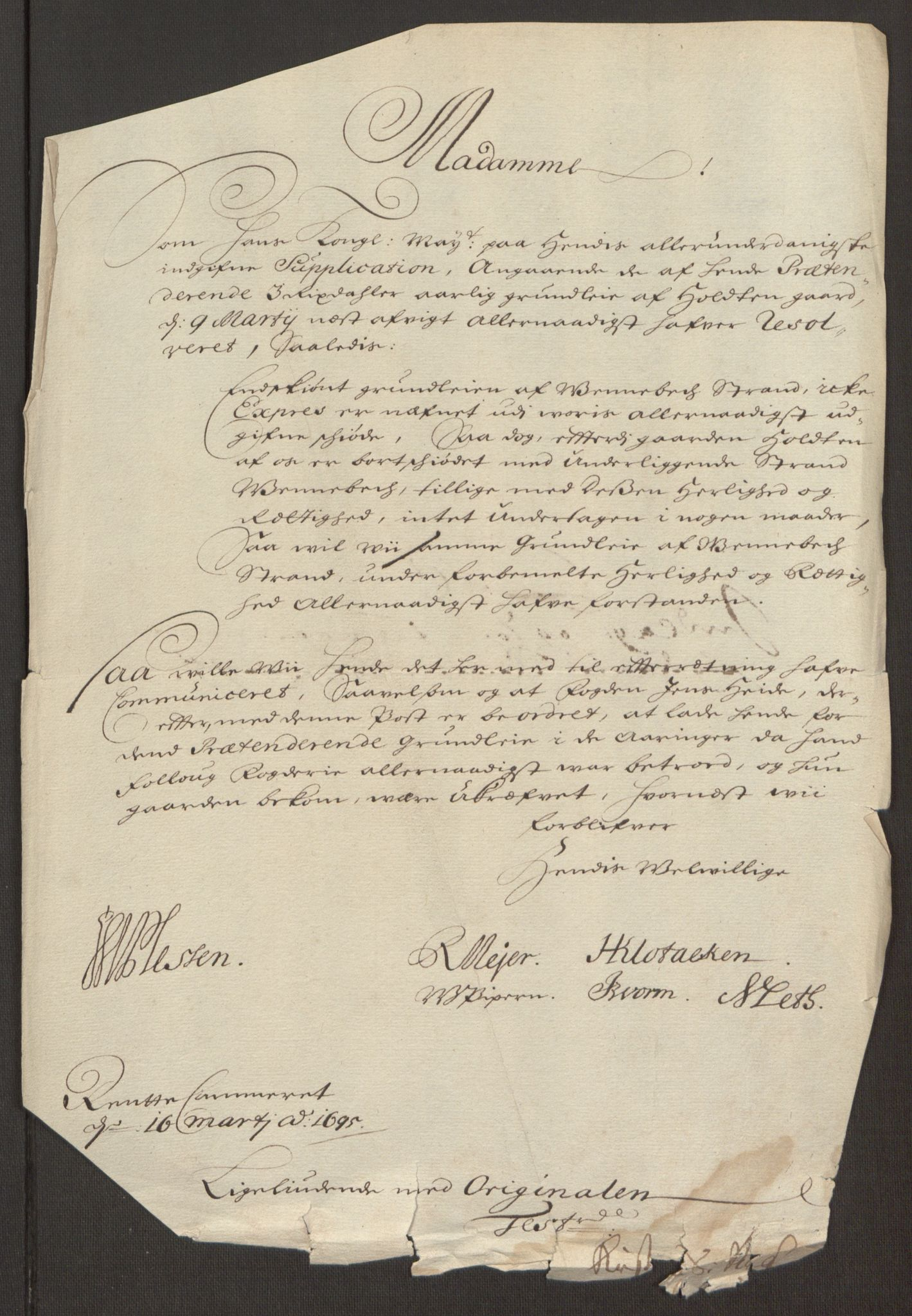 RA, Rentekammeret inntil 1814, Reviderte regnskaper, Fogderegnskap, R10/L0439: Fogderegnskap Aker og Follo, 1695, s. 70