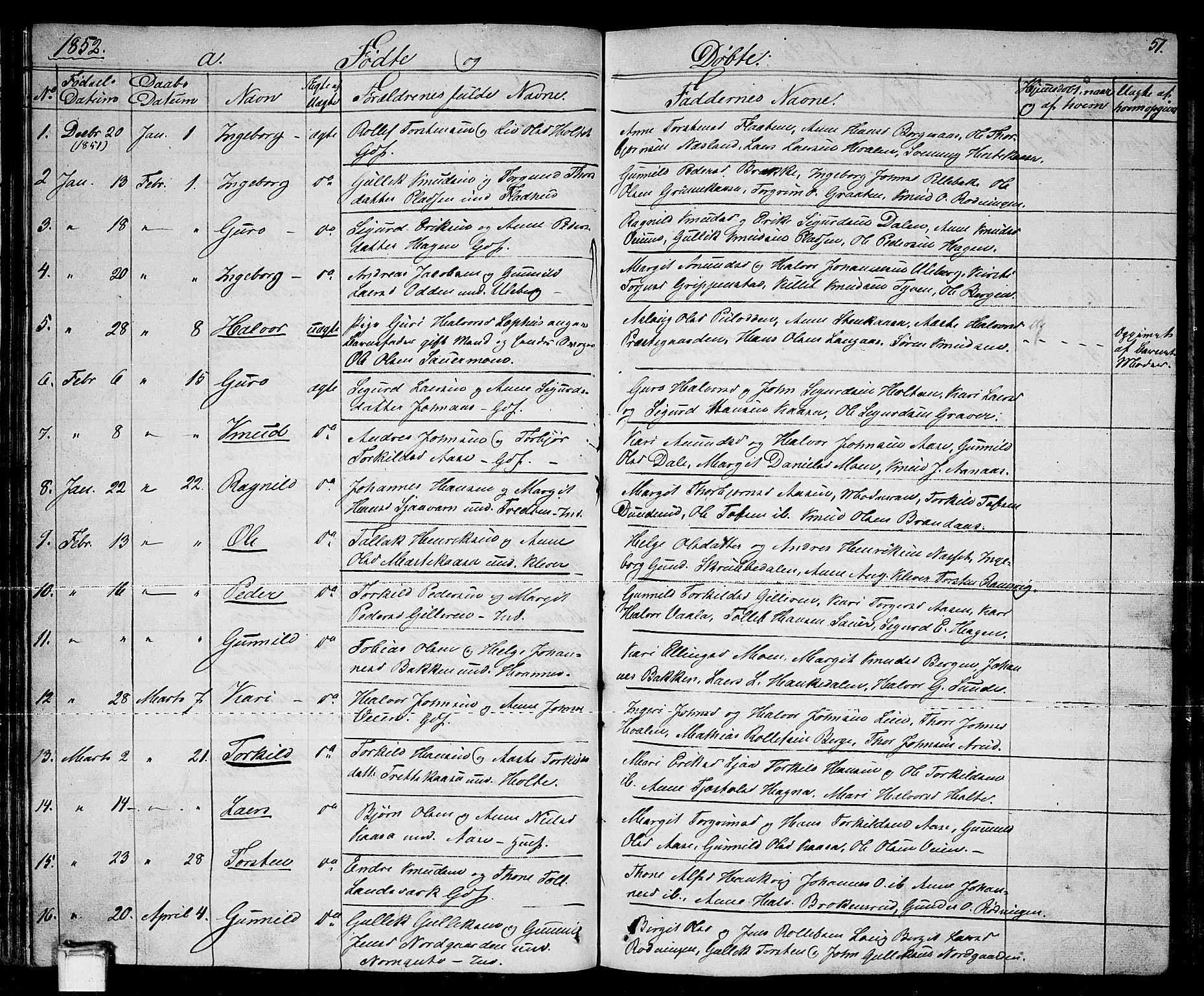 SAKO, Sauherad kirkebøker, G/Ga/L0002: Klokkerbok nr. I 2, 1842-1866, s. 51