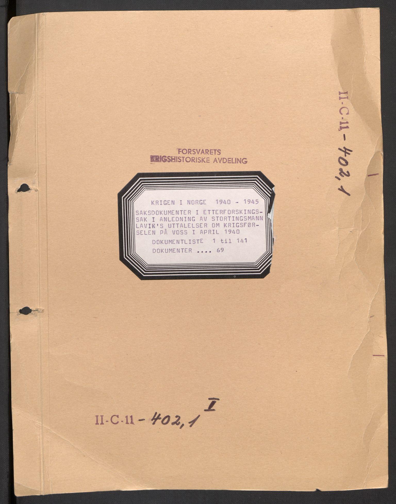 RA, Forsvaret, Forsvarets krigshistoriske avdeling, Y/Yb/L0101: II-C-11-402  -  4. Divisjon., 1946-1948, s. 1