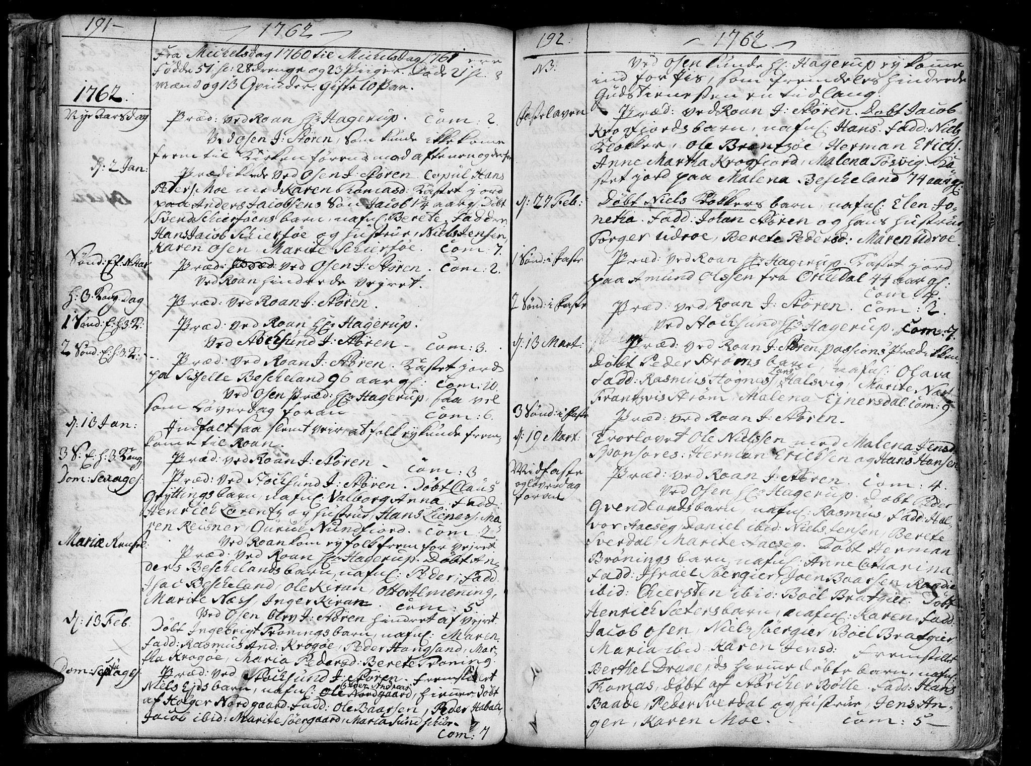 SAT, Ministerialprotokoller, klokkerbøker og fødselsregistre - Sør-Trøndelag, 657/L0700: Ministerialbok nr. 657A01, 1732-1801, s. 191-192