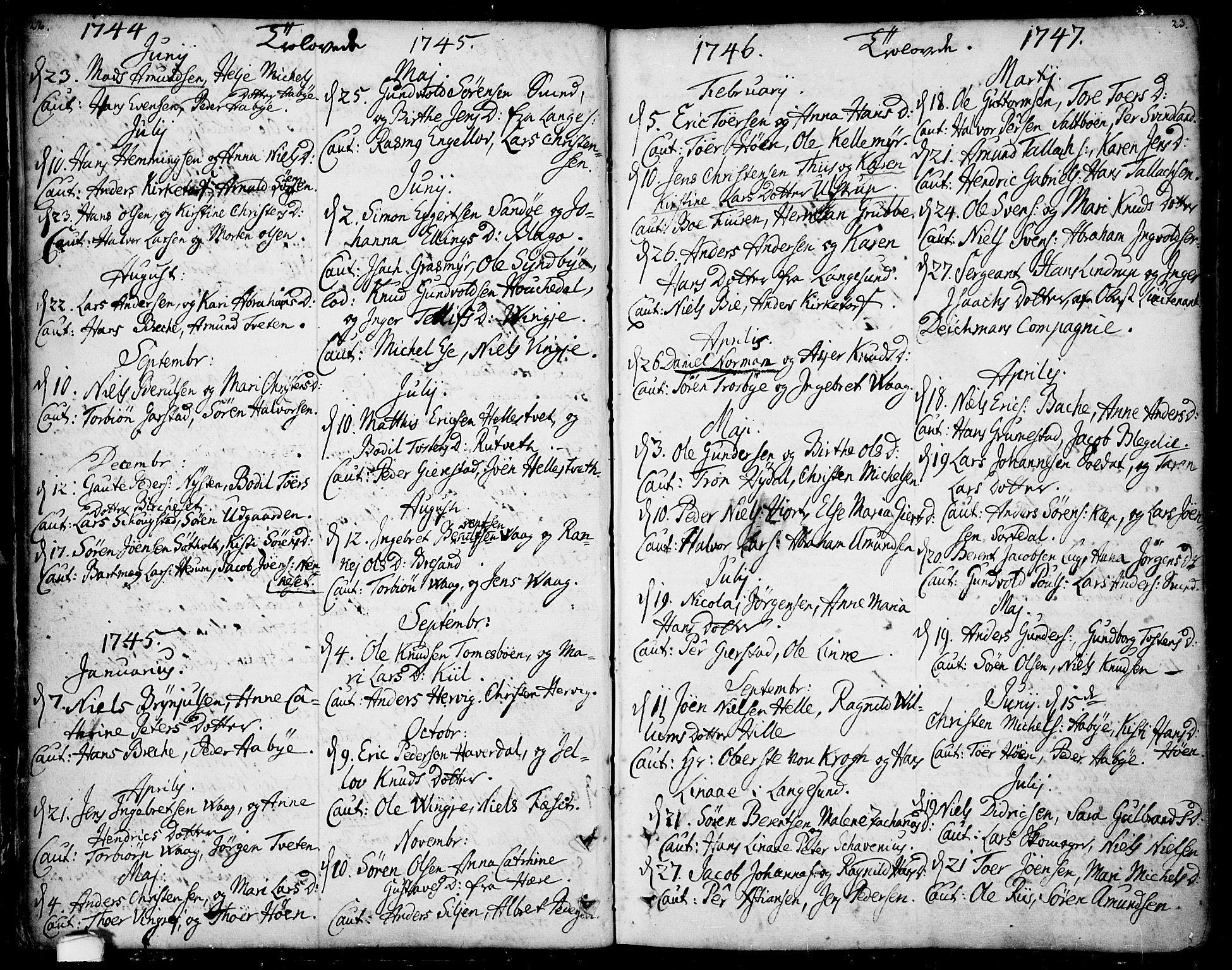 SAKO, Bamble kirkebøker, F/Fa/L0001: Ministerialbok nr. I 1, 1702-1774, s. 22-23