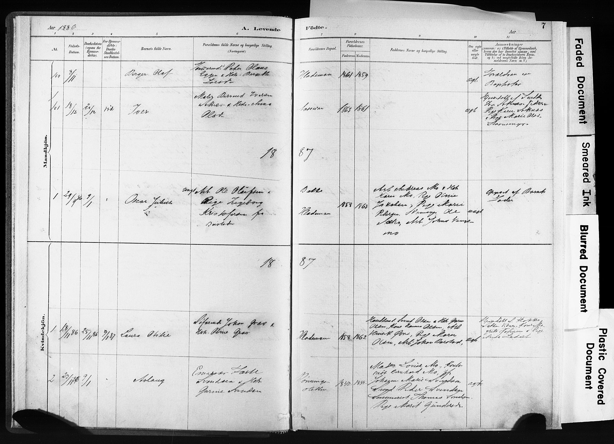 SAT, Ministerialprotokoller, klokkerbøker og fødselsregistre - Sør-Trøndelag, 606/L0300: Ministerialbok nr. 606A15, 1886-1893, s. 7