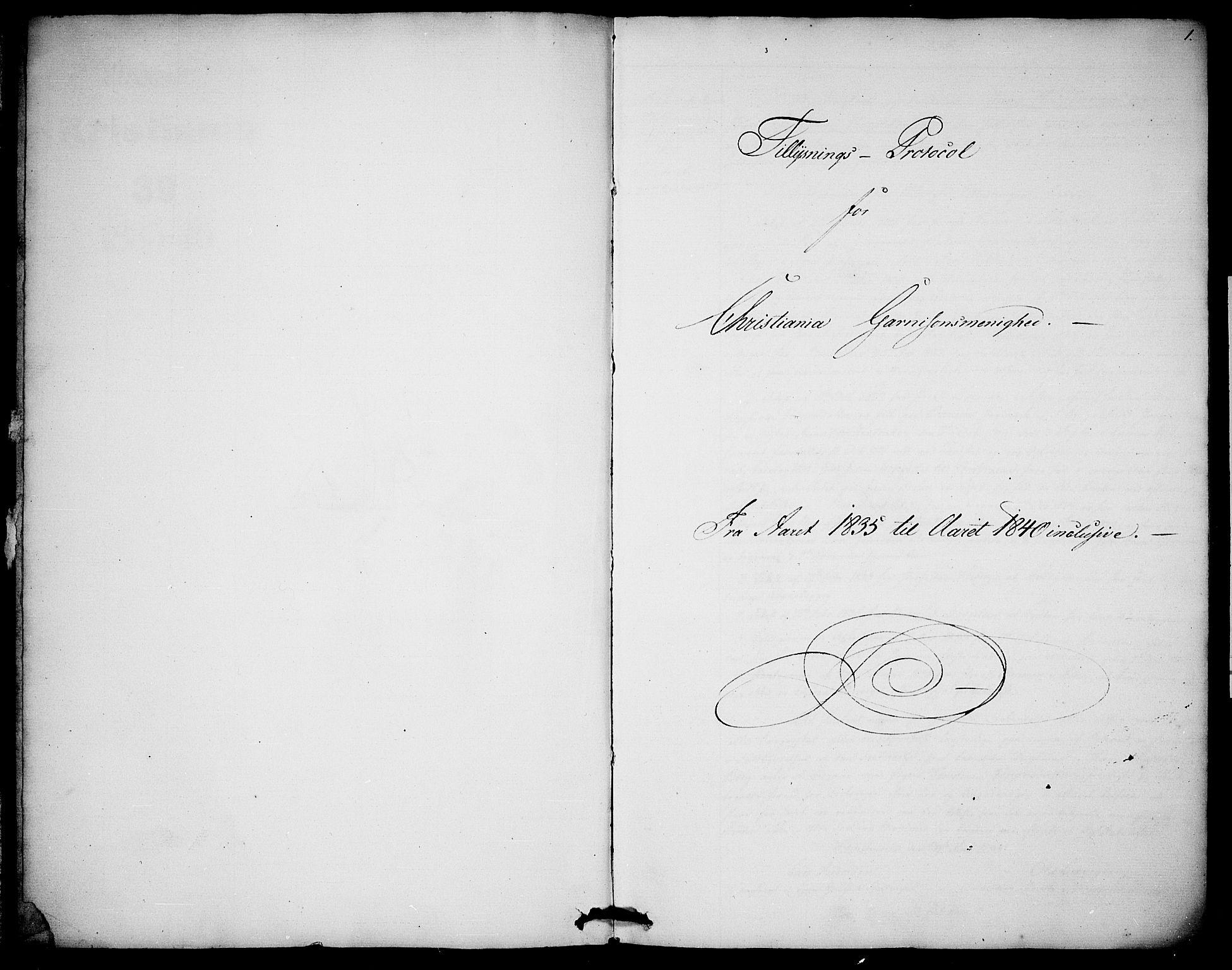 SAO, Garnisonsmenigheten Kirkebøker, H/Ha/L0003: Lysningsprotokoll nr. I 3, 1835-1840, s. 0-1