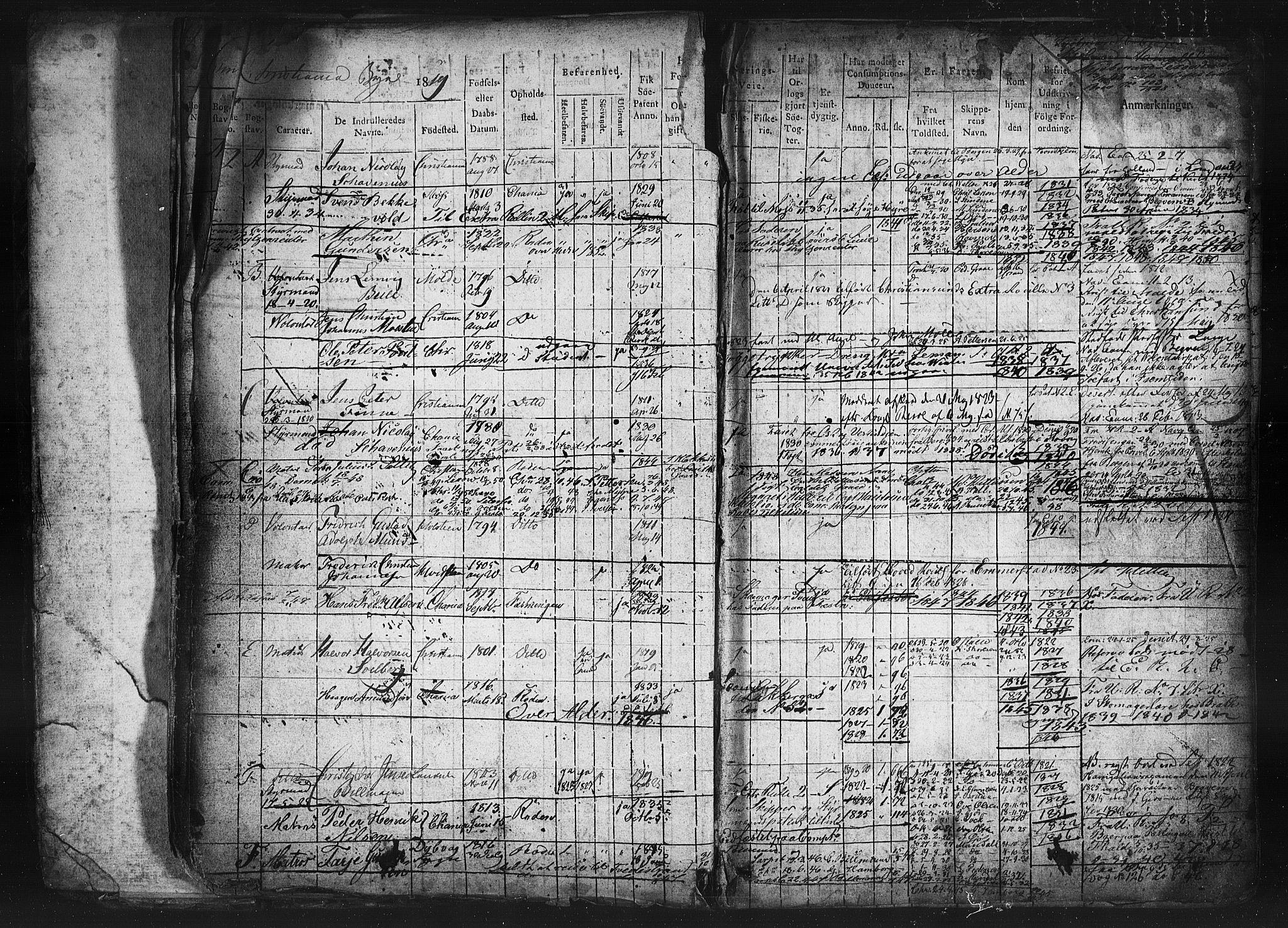 SAO, Oslo mønstringskontor, F/Fc/Fcb/L0001: Hovedrulle, 1819, s. 13