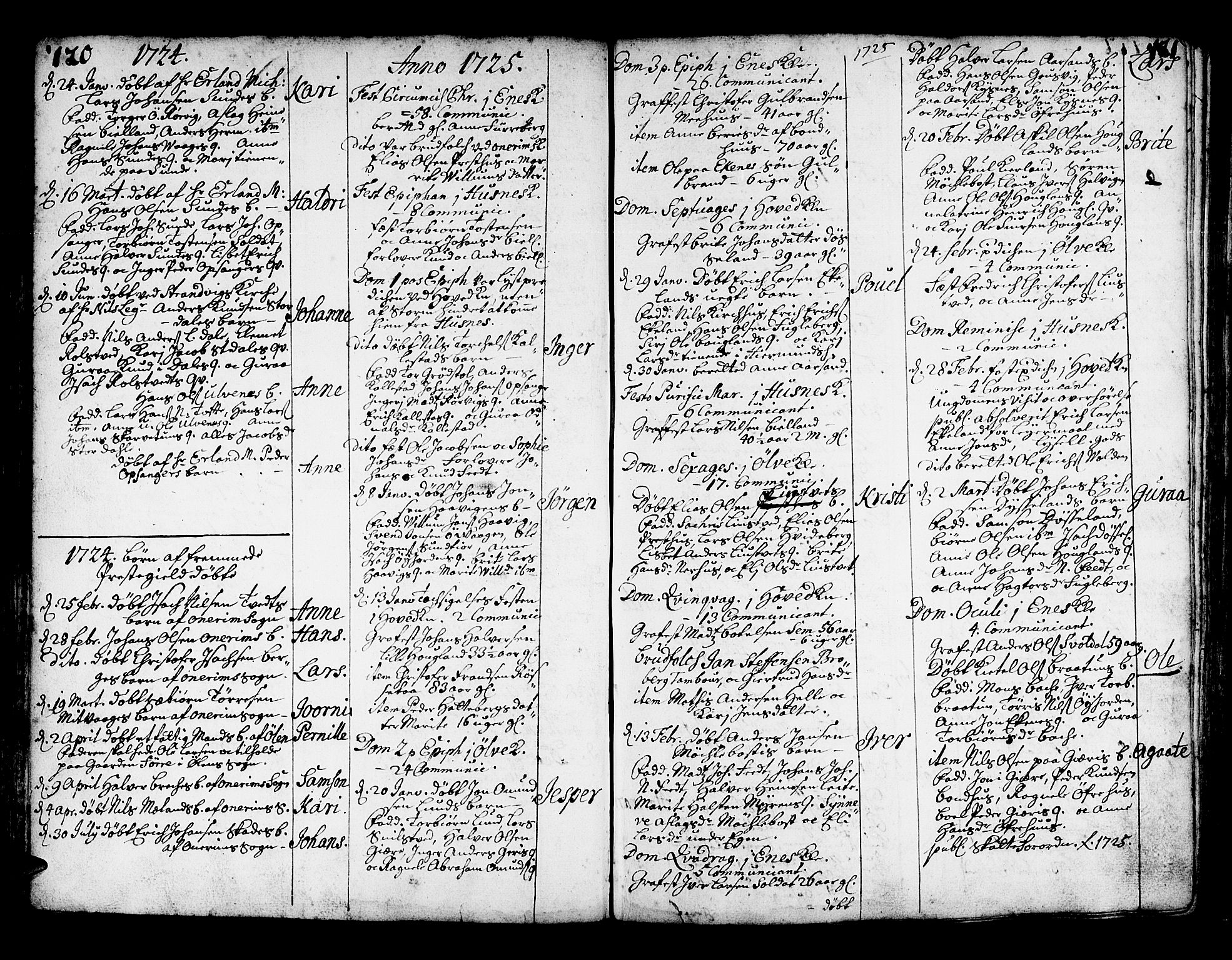 SAB, Kvinnherad Sokneprestembete, H/Haa: Ministerialbok nr. A 2, 1710-1753, s. 120-121