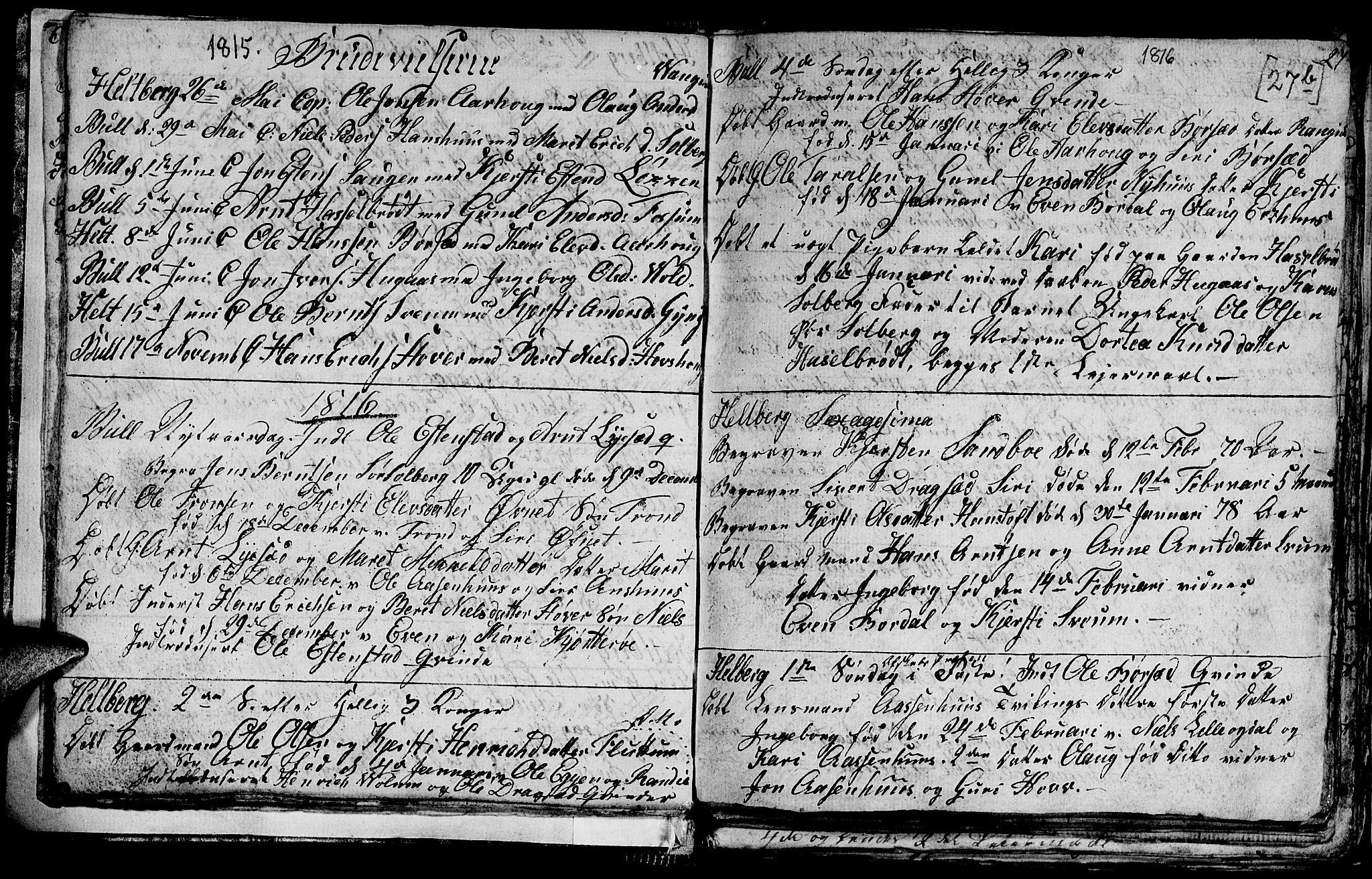 SAT, Ministerialprotokoller, klokkerbøker og fødselsregistre - Sør-Trøndelag, 689/L1042: Klokkerbok nr. 689C01, 1812-1841, s. 26b-27b