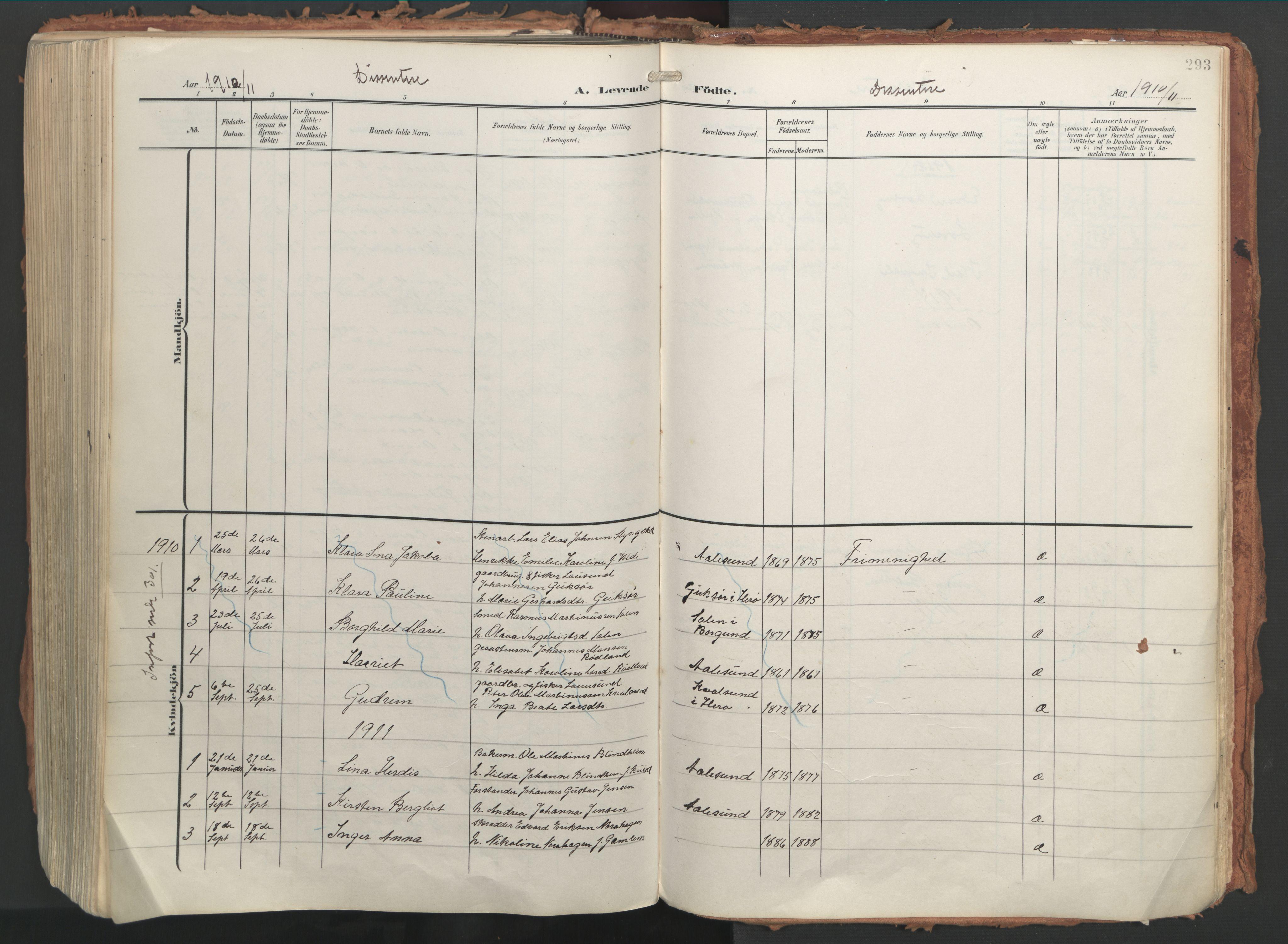 SAT, Ministerialprotokoller, klokkerbøker og fødselsregistre - Møre og Romsdal, 529/L0460: Ministerialbok nr. 529A10, 1906-1917, s. 293