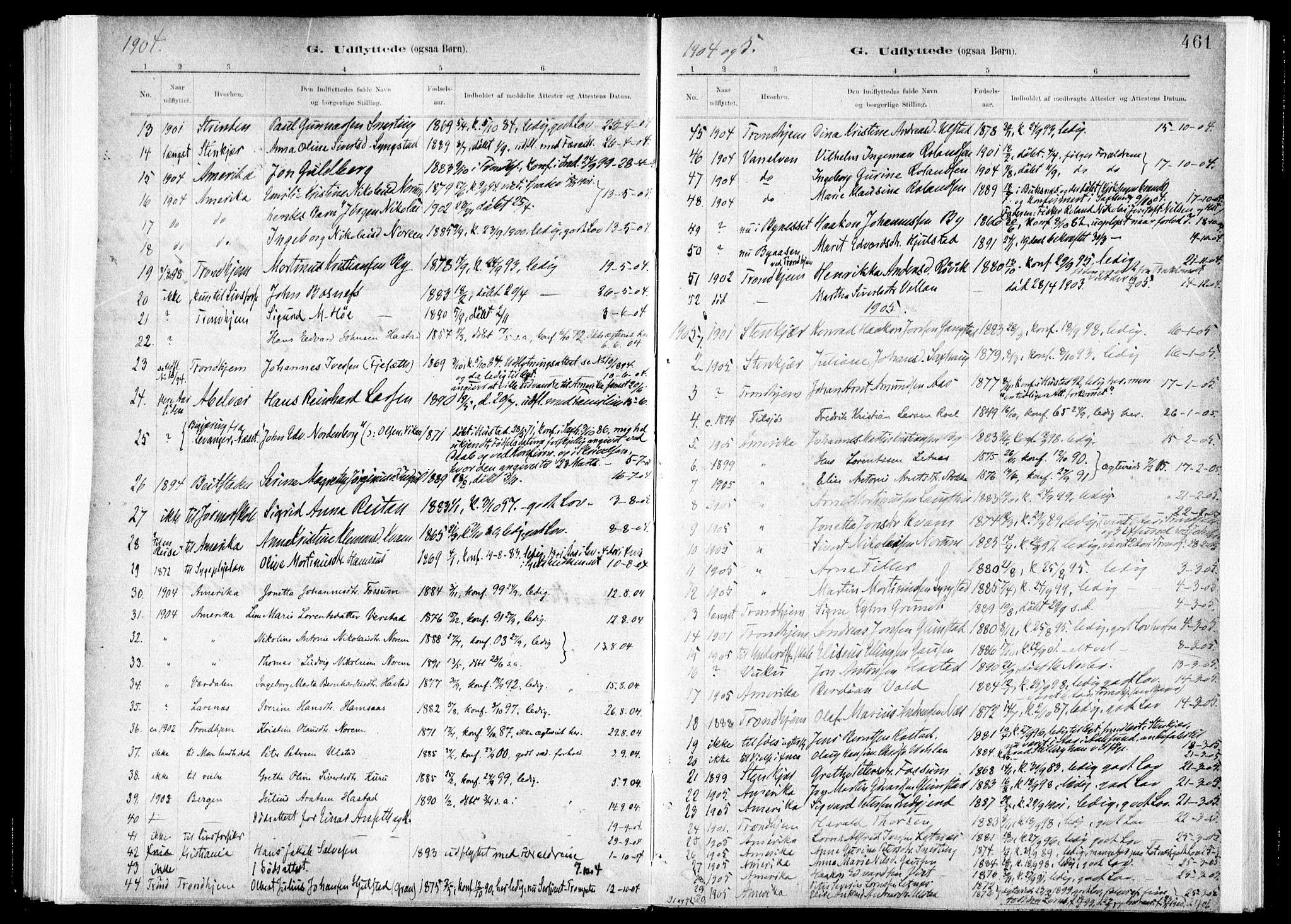 SAT, Ministerialprotokoller, klokkerbøker og fødselsregistre - Nord-Trøndelag, 730/L0285: Ministerialbok nr. 730A10, 1879-1914, s. 461