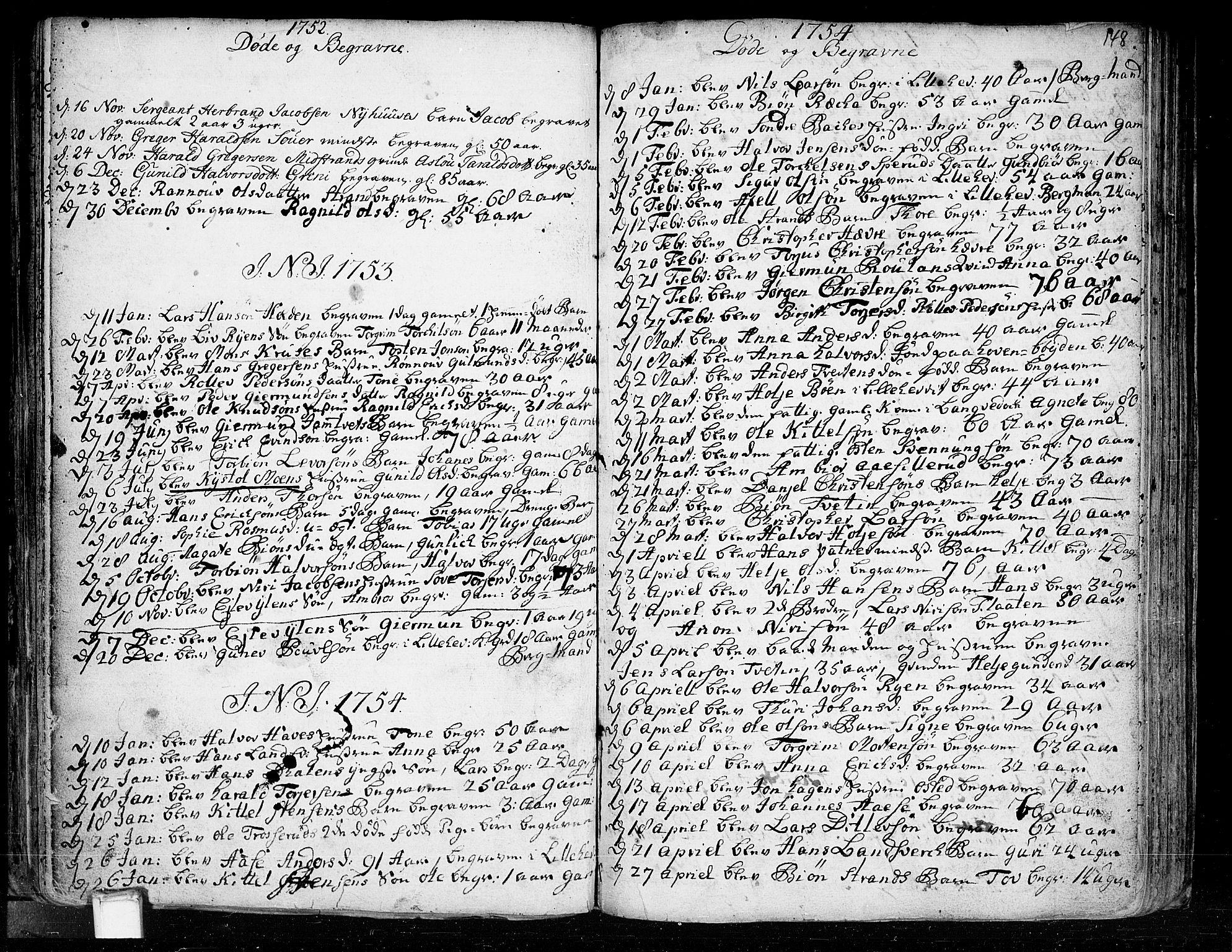 SAKO, Heddal kirkebøker, F/Fa/L0003: Ministerialbok nr. I 3, 1723-1783, s. 148