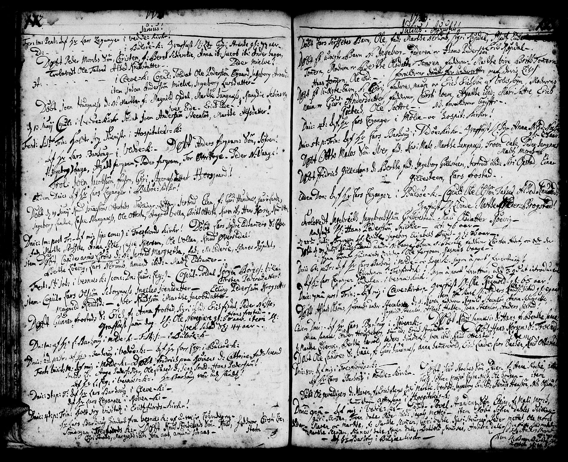 SAT, Ministerialprotokoller, klokkerbøker og fødselsregistre - Møre og Romsdal, 547/L0599: Ministerialbok nr. 547A01, 1721-1764, s. 174-175
