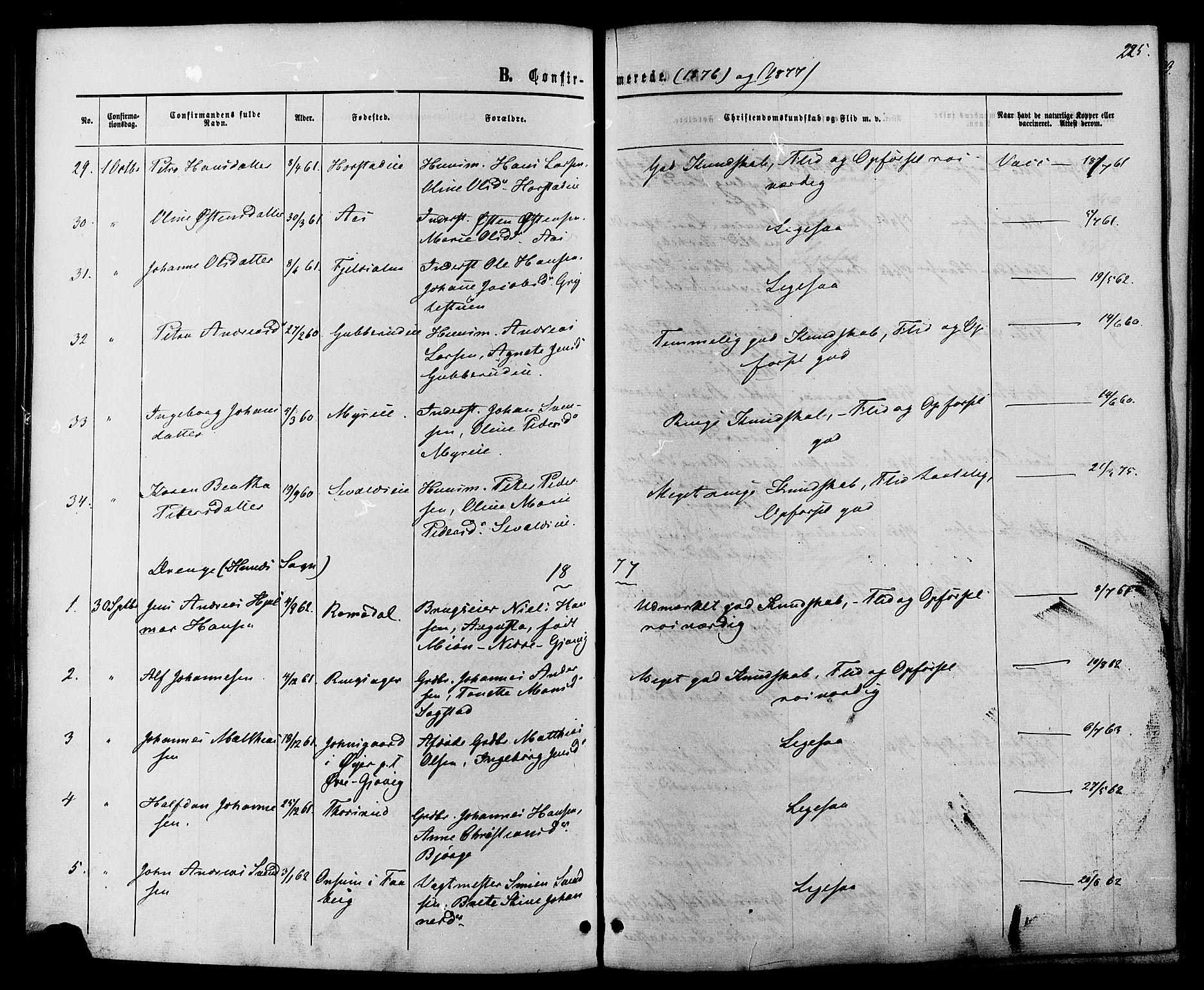 SAH, Vardal prestekontor, H/Ha/Haa/L0007: Ministerialbok nr. 7, 1867-1878, s. 225