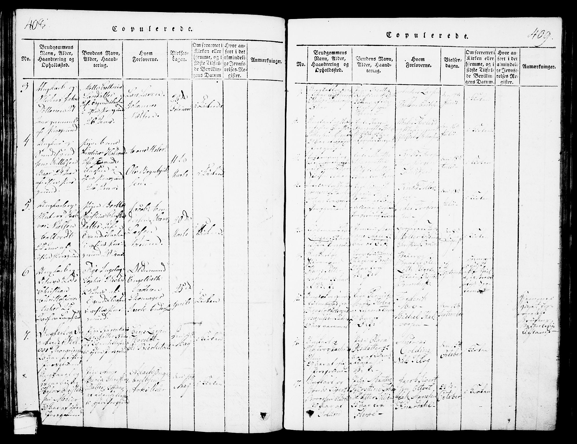 SAKO, Porsgrunn kirkebøker , G/Gb/L0001: Klokkerbok nr. II 1, 1817-1828, s. 408-409