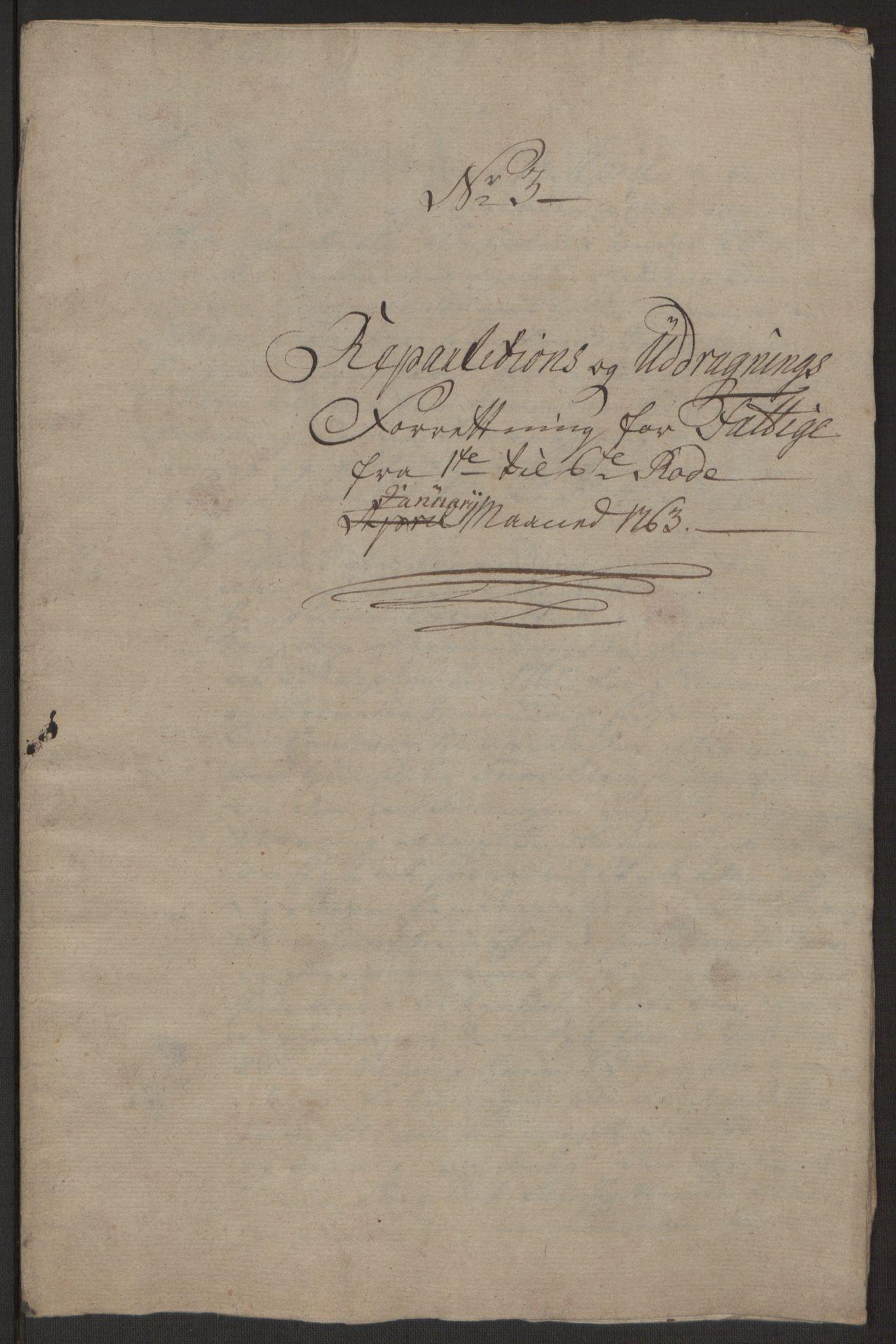 RA, Rentekammeret inntil 1814, Reviderte regnskaper, Byregnskaper, R/Rp/L0366: [P20] Kontribusjonsregnskap, 1763, s. 158