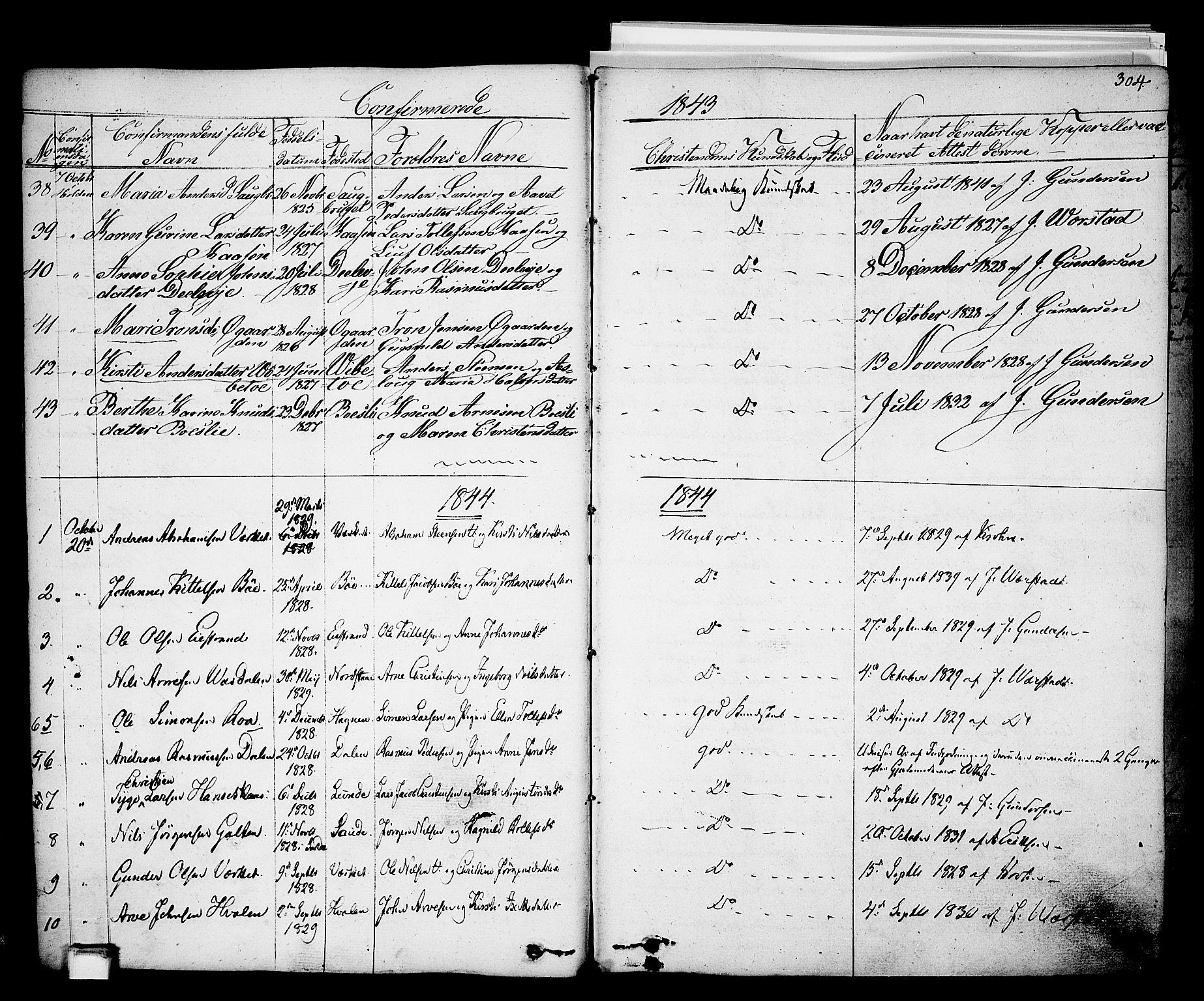 SAKO, Holla kirkebøker, F/Fa/L0004: Ministerialbok nr. 4, 1830-1848, s. 304