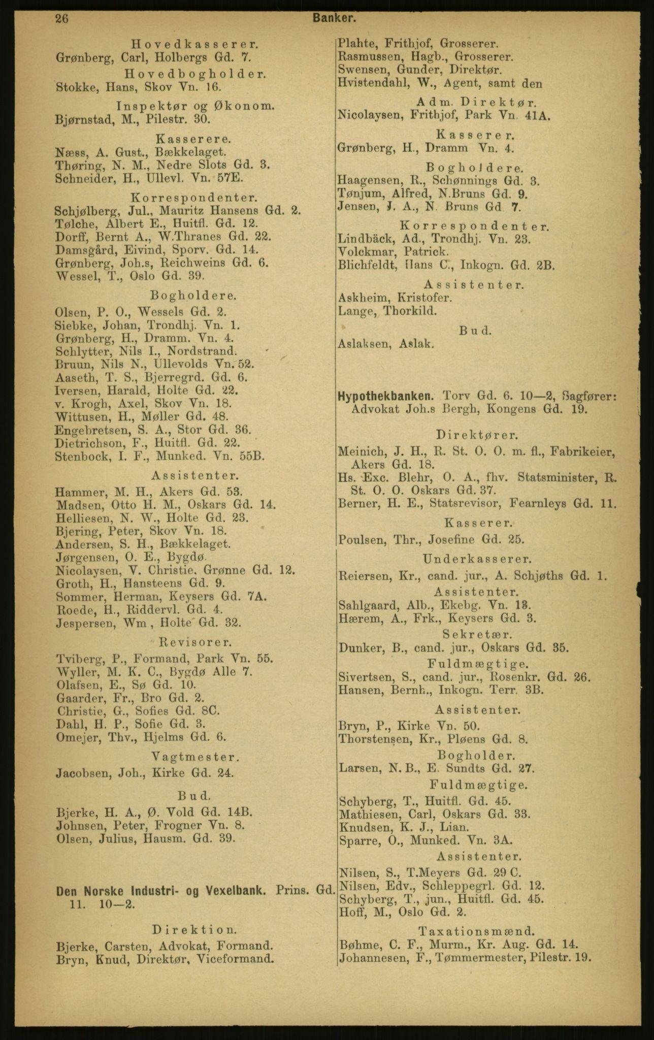 PUBL, Kristiania/Oslo adressebok, 1897, s. 26