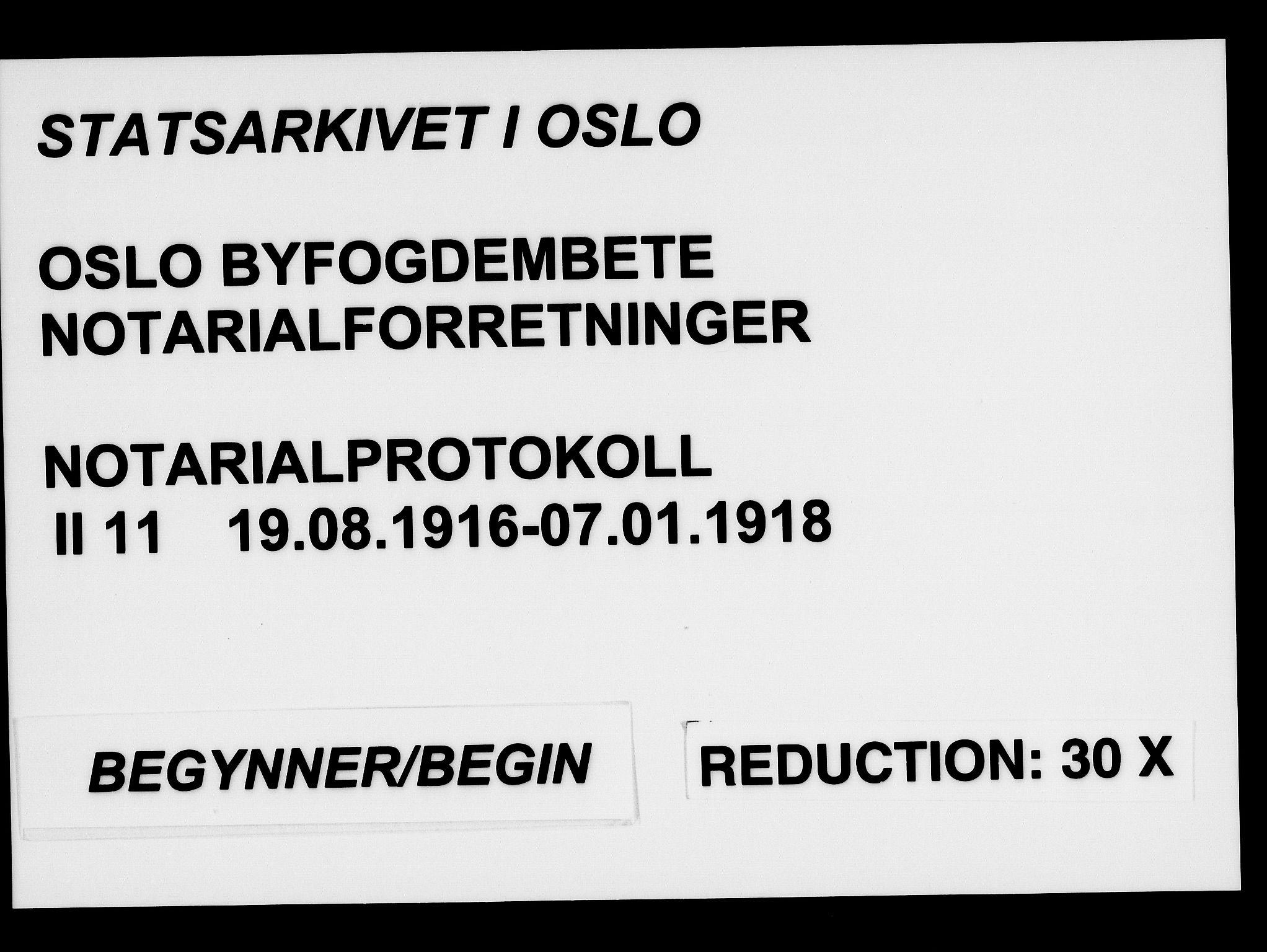 SAO, Oslo byfogd avd. I, L/Lb/Lbb/L0011: Notarialprotokoll, rekke II: Vigsler, 1916-1918, s. upaginert