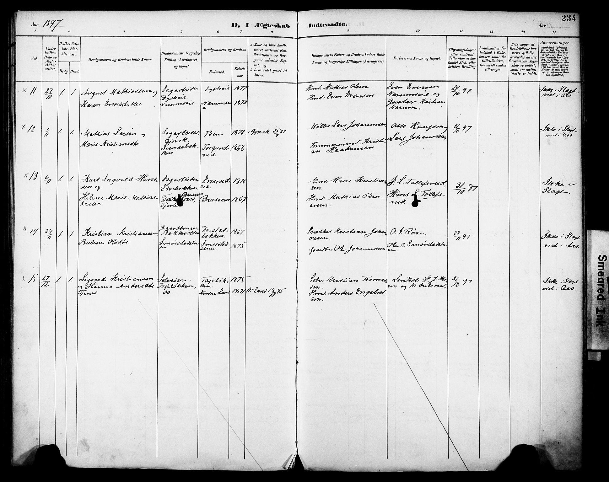 SAH, Vestre Toten prestekontor, H/Ha/Haa/L0013: Ministerialbok nr. 13, 1895-1911, s. 234