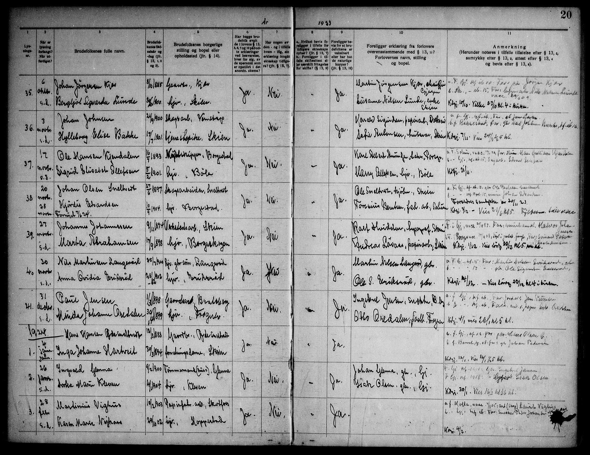 SAKO, Gjerpen kirkebøker, H/Ha/L0003: Lysningsprotokoll nr. I 3, 1919-1946, s. 20