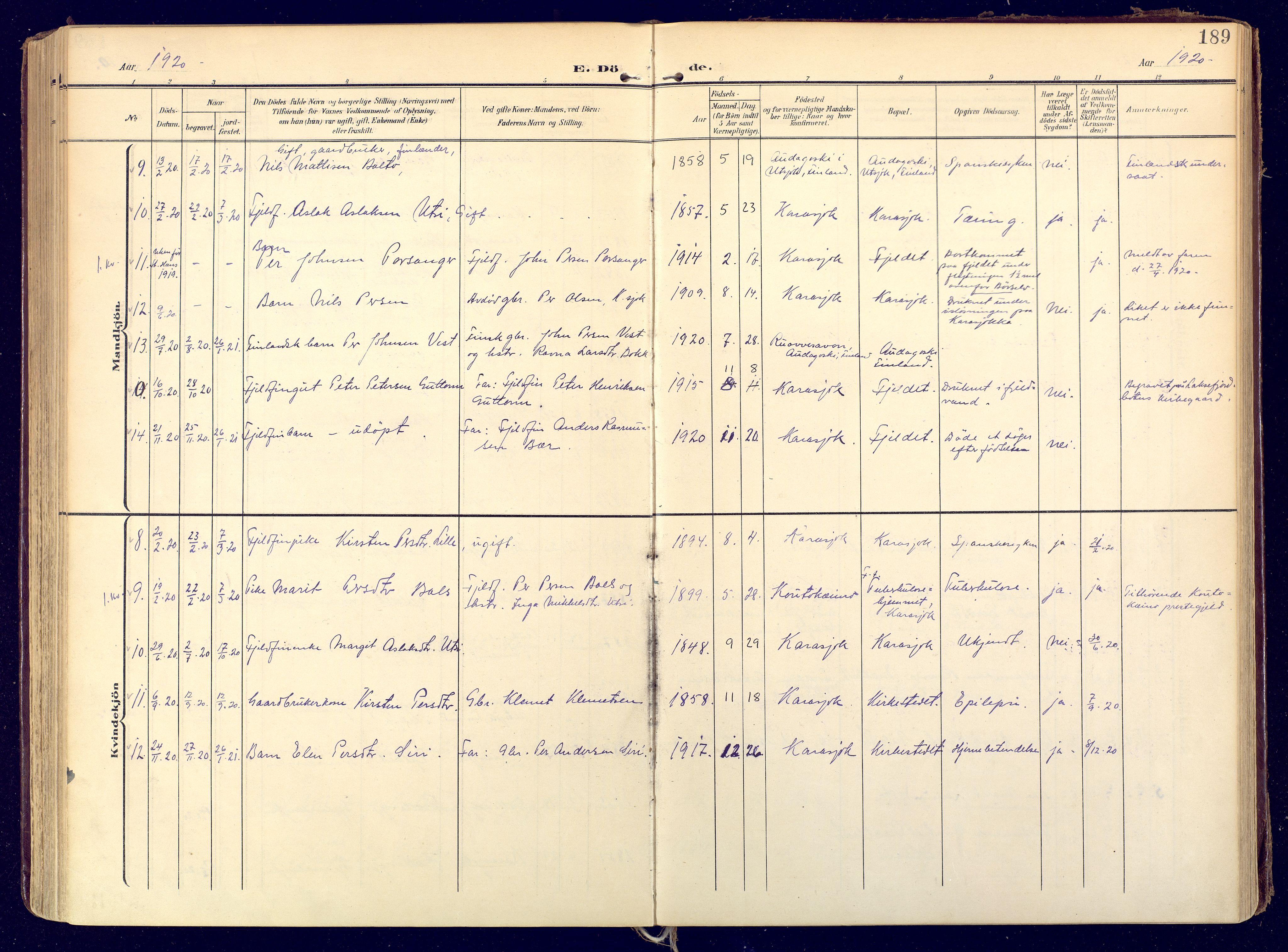SATØ, Karasjok sokneprestkontor, H/Ha: Ministerialbok nr. 3, 1907-1926, s. 189