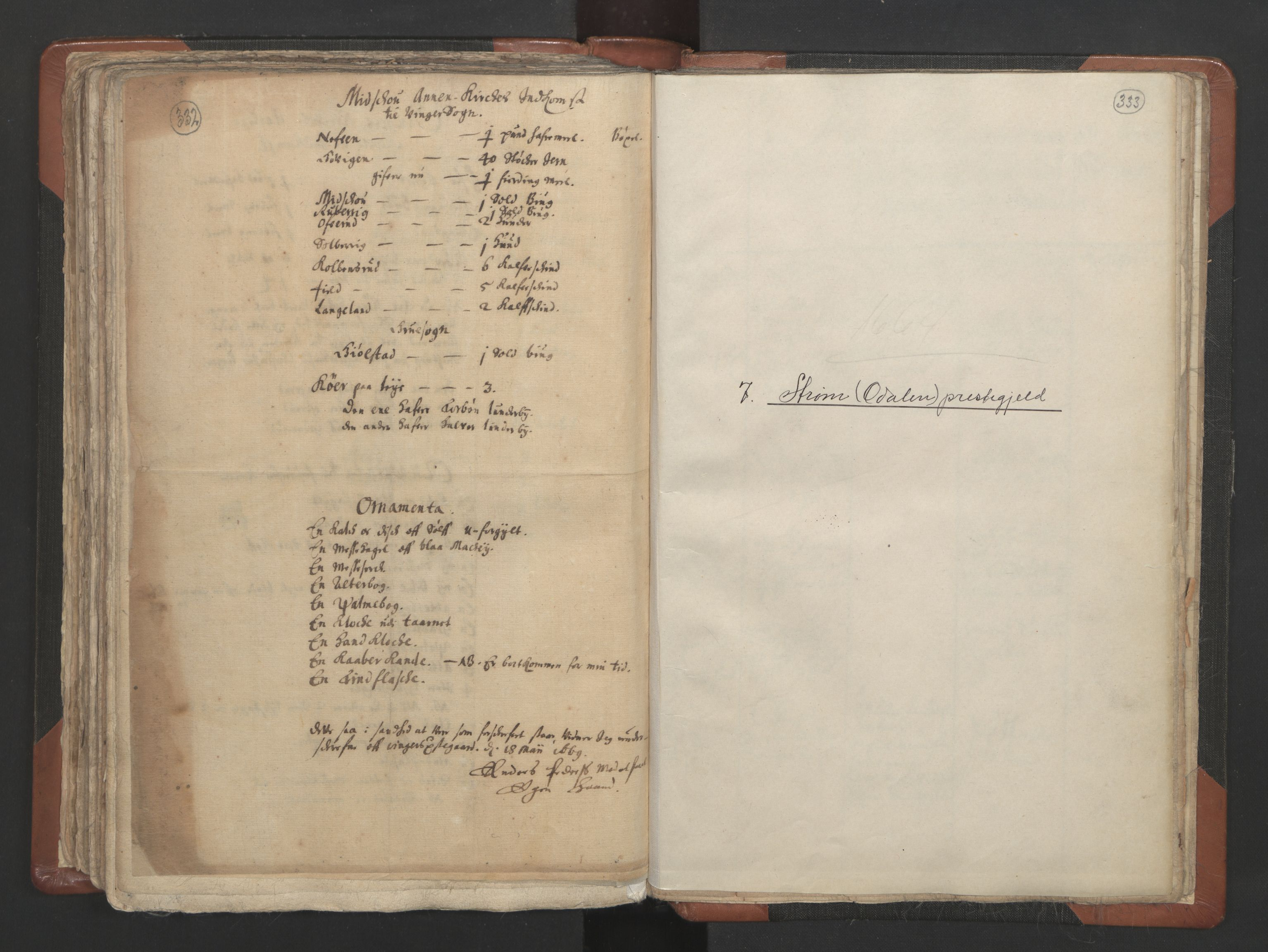 RA, Sogneprestenes manntall 1664-1666, nr. 4: Øvre Romerike prosti, 1664-1666, s. 332-333