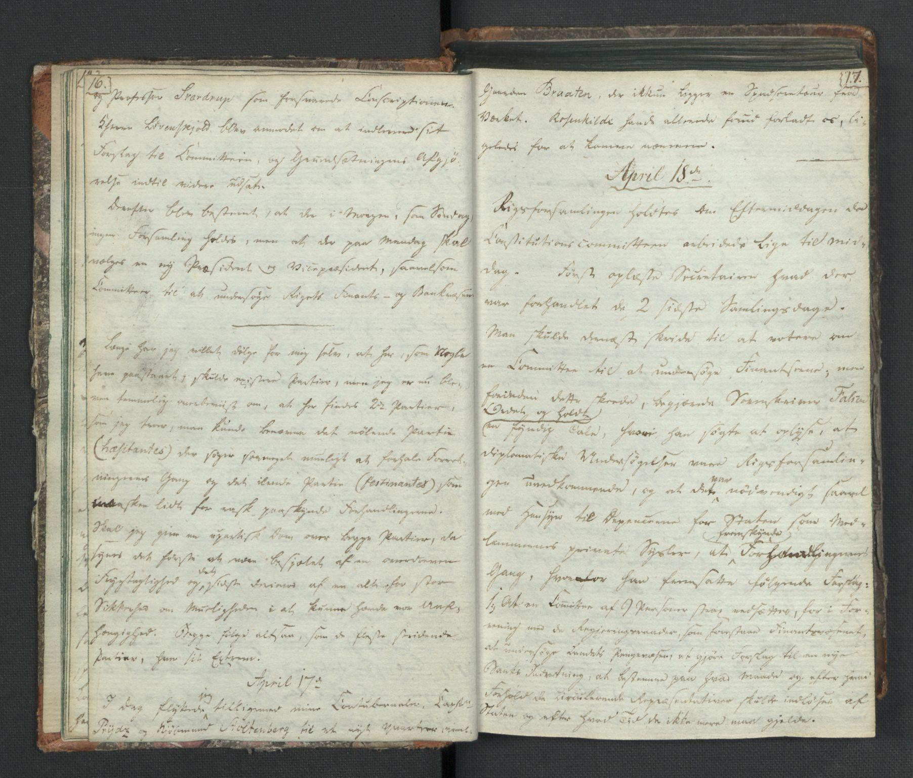 RA, Manuskriptsamlingen, H/L0021: Byfogd Gregers Winther Wulfbergs dagbok under Riksforsamlingen på Eidsvoll, 1814, s. 16-17
