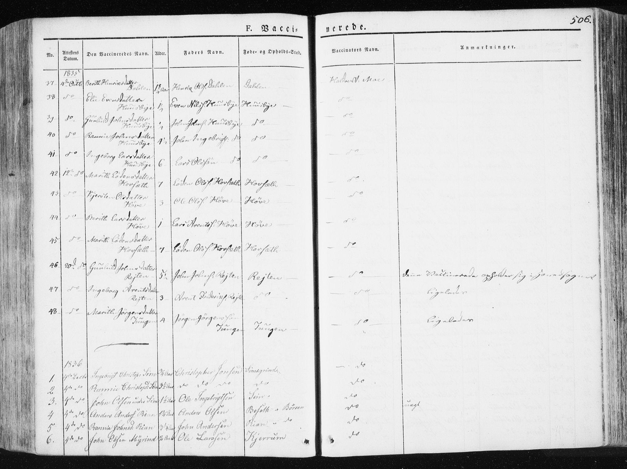 SAT, Ministerialprotokoller, klokkerbøker og fødselsregistre - Sør-Trøndelag, 665/L0771: Ministerialbok nr. 665A06, 1830-1856, s. 506